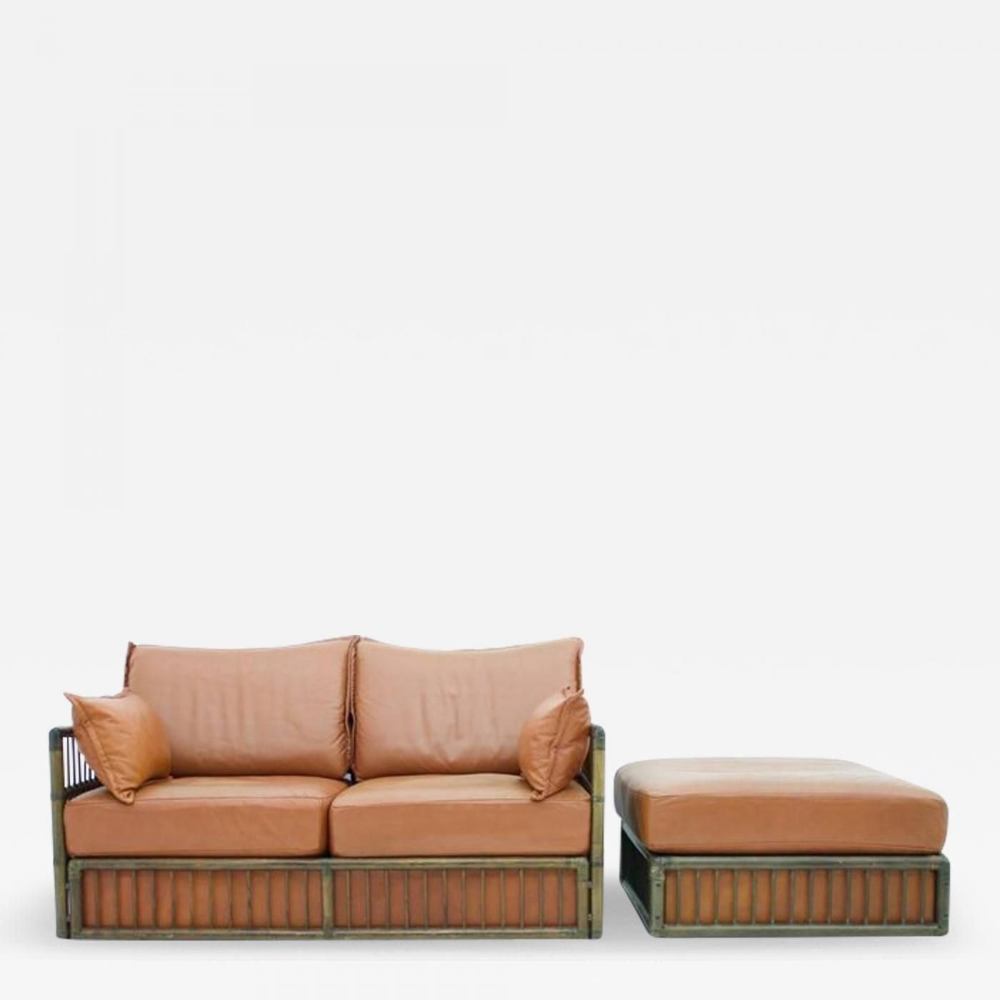 Rolf Benz Two Person Leather Sofa And Foot Stool With Rattan
