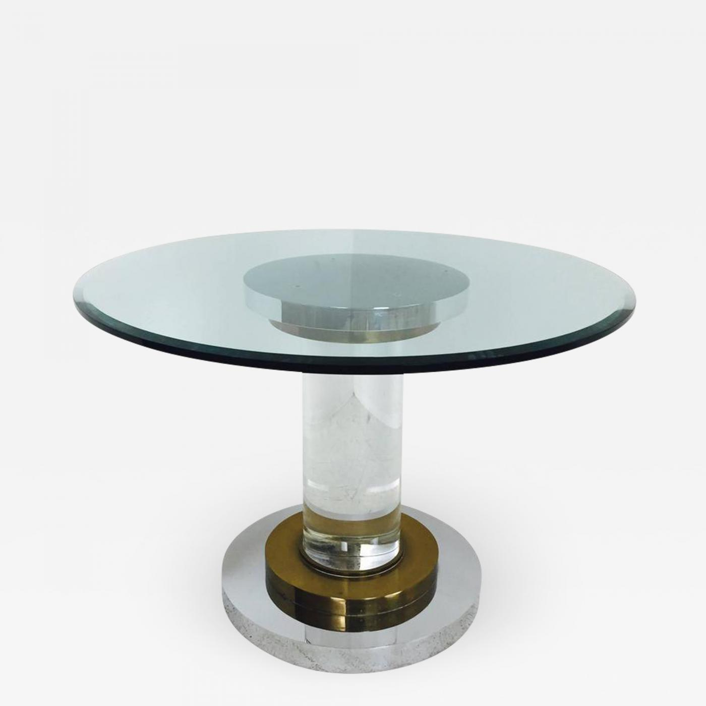 Romeo Rega Lucite And Glass Pedestal Dining Table By Romeo