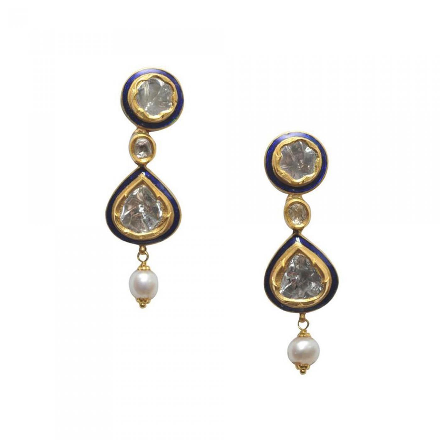 Rosecut Diamonds Blue Enamel And 22 Karat Gold Earrings With Pearl Drop