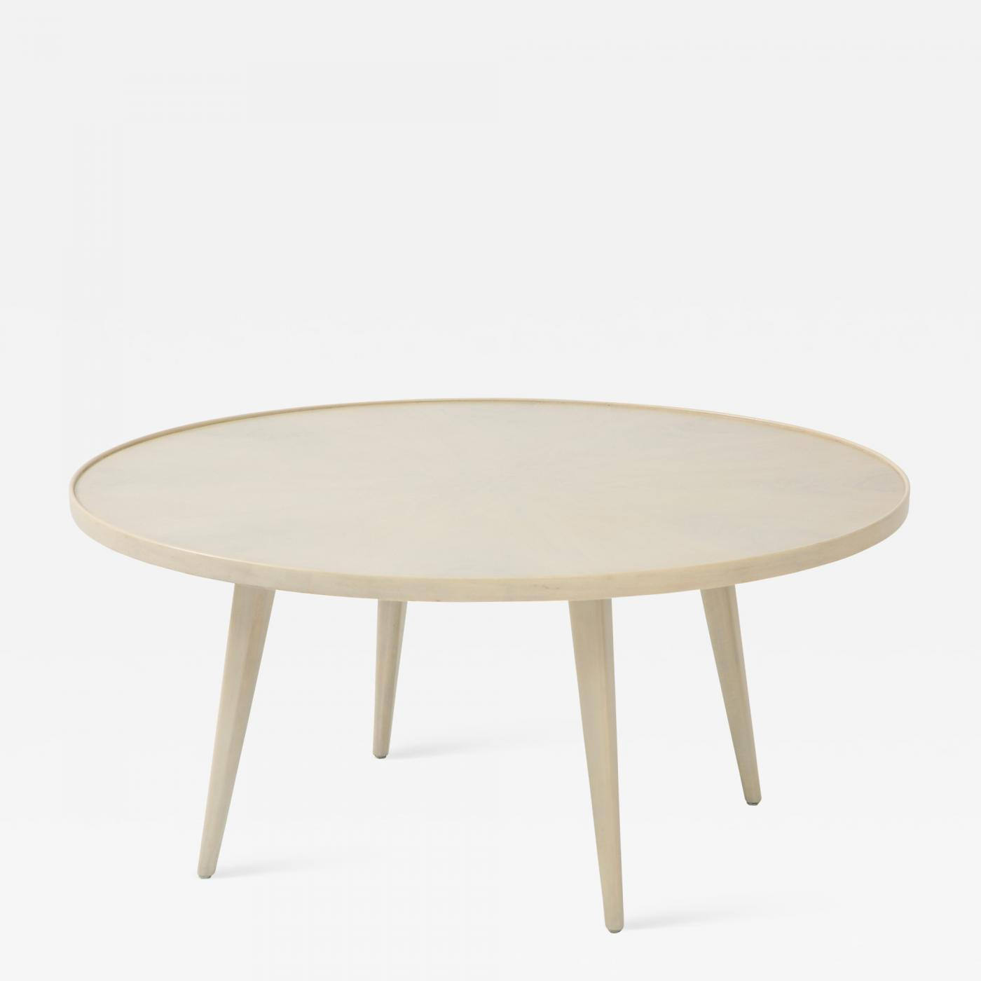 Round Whitewashed Coffee Table