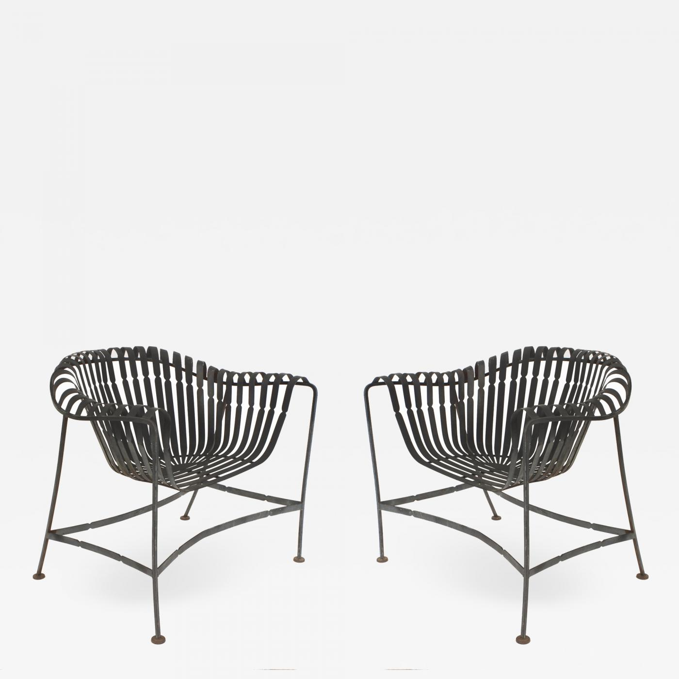 Set 4 american mid century 1960s iron outdoor arm chairs