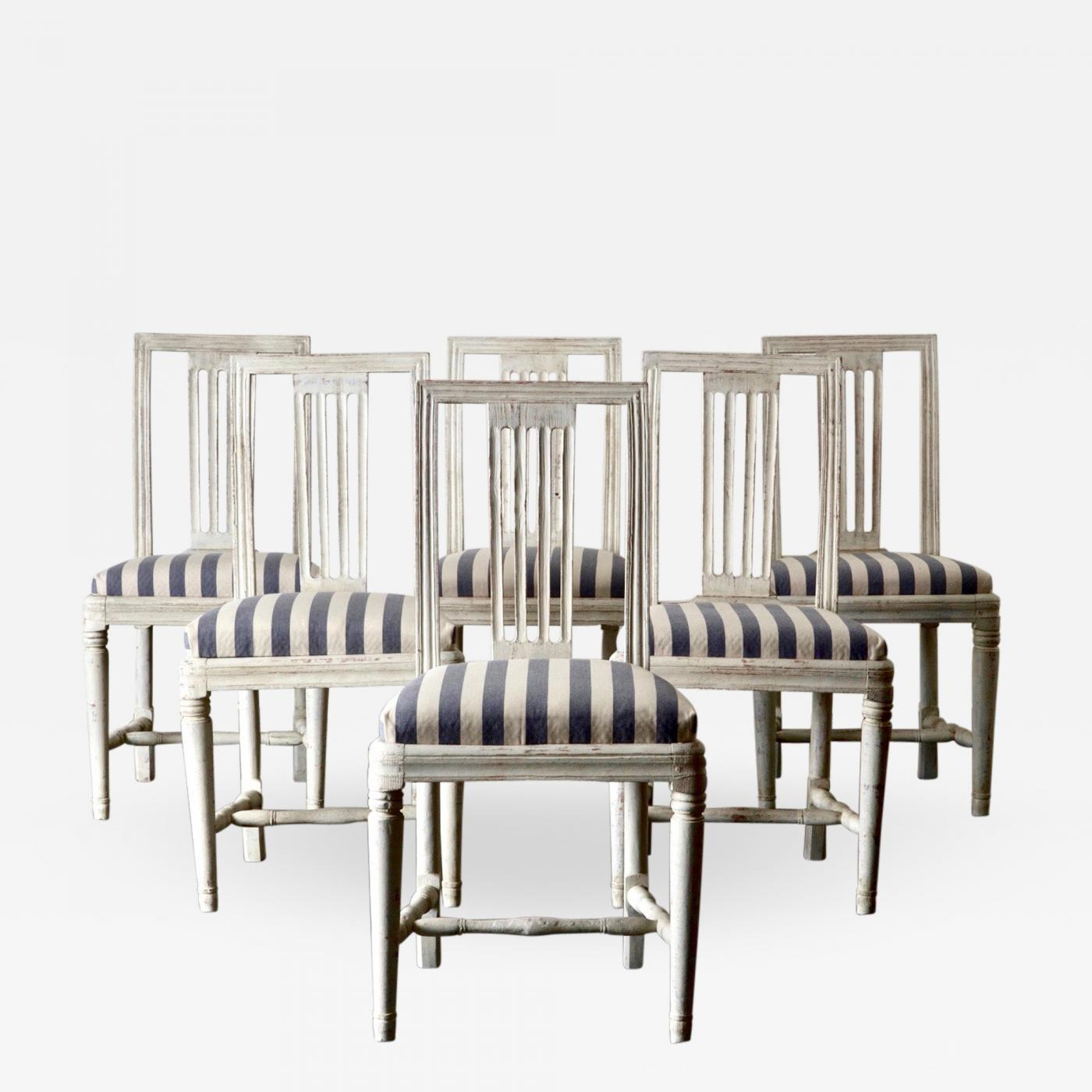 Superbe SET OF 6 DINING CHAIRS WHITE GUSTAVIAN SWEDEN