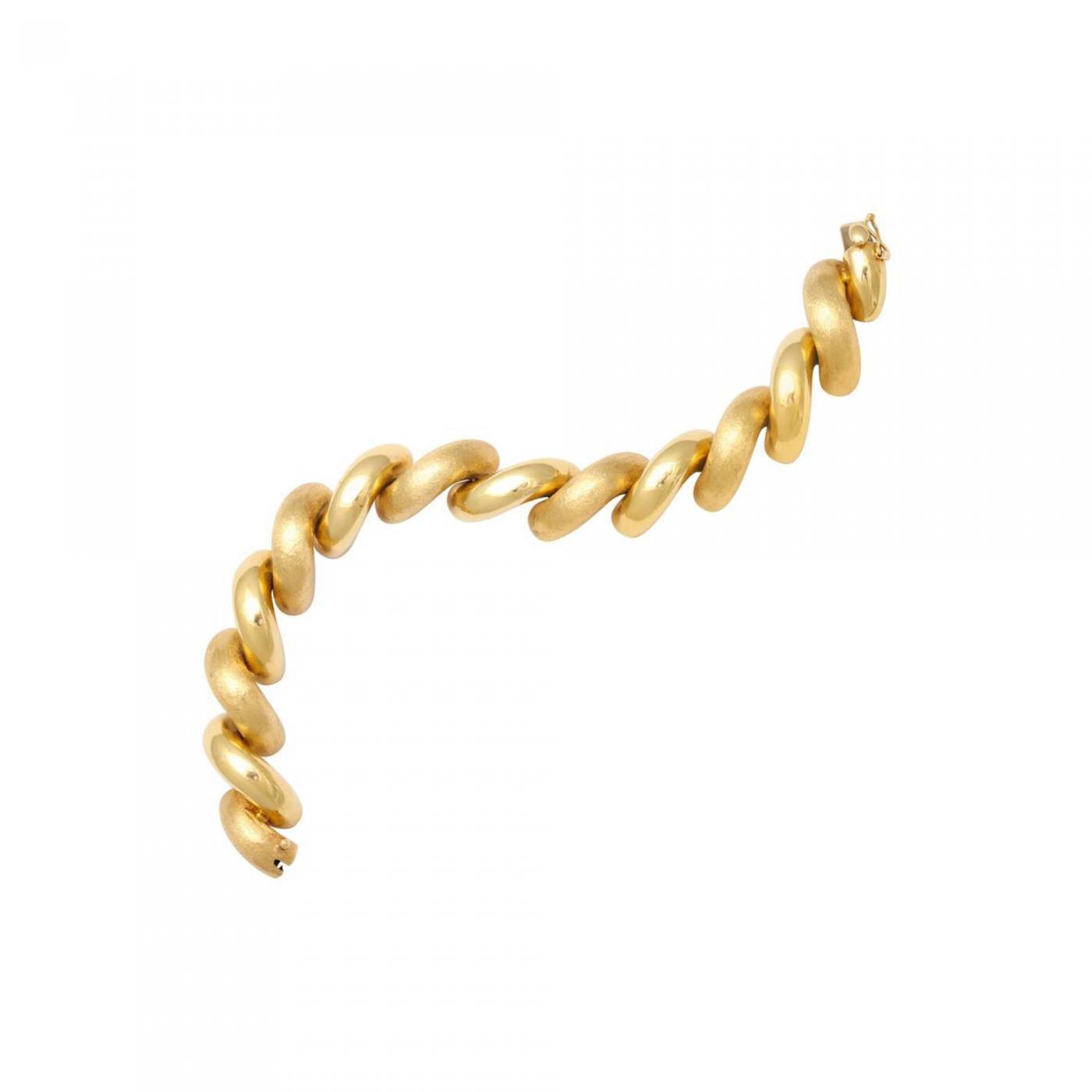 520fb3e12787f 'San Marco' Two-Tone Brushed Gold Bracelet
