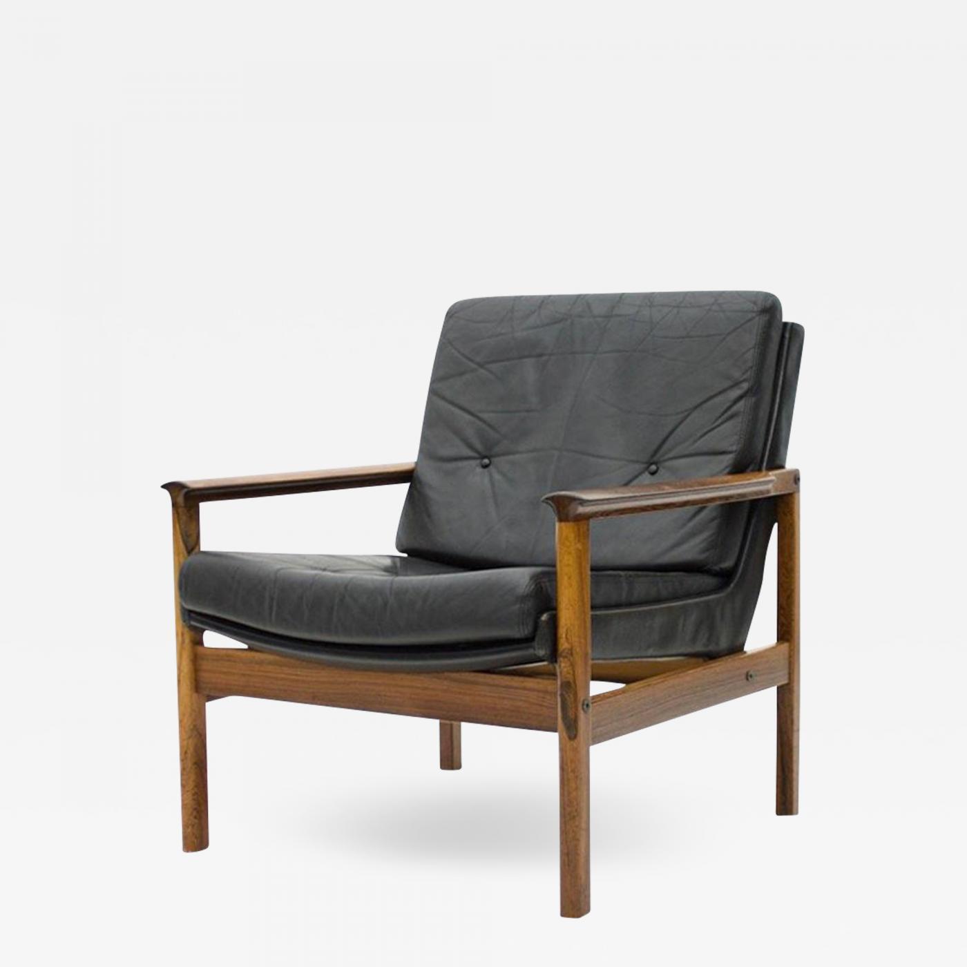 Surprising Scandinavian Easy Chair In Rosewood And Black Leather 1960S Inzonedesignstudio Interior Chair Design Inzonedesignstudiocom