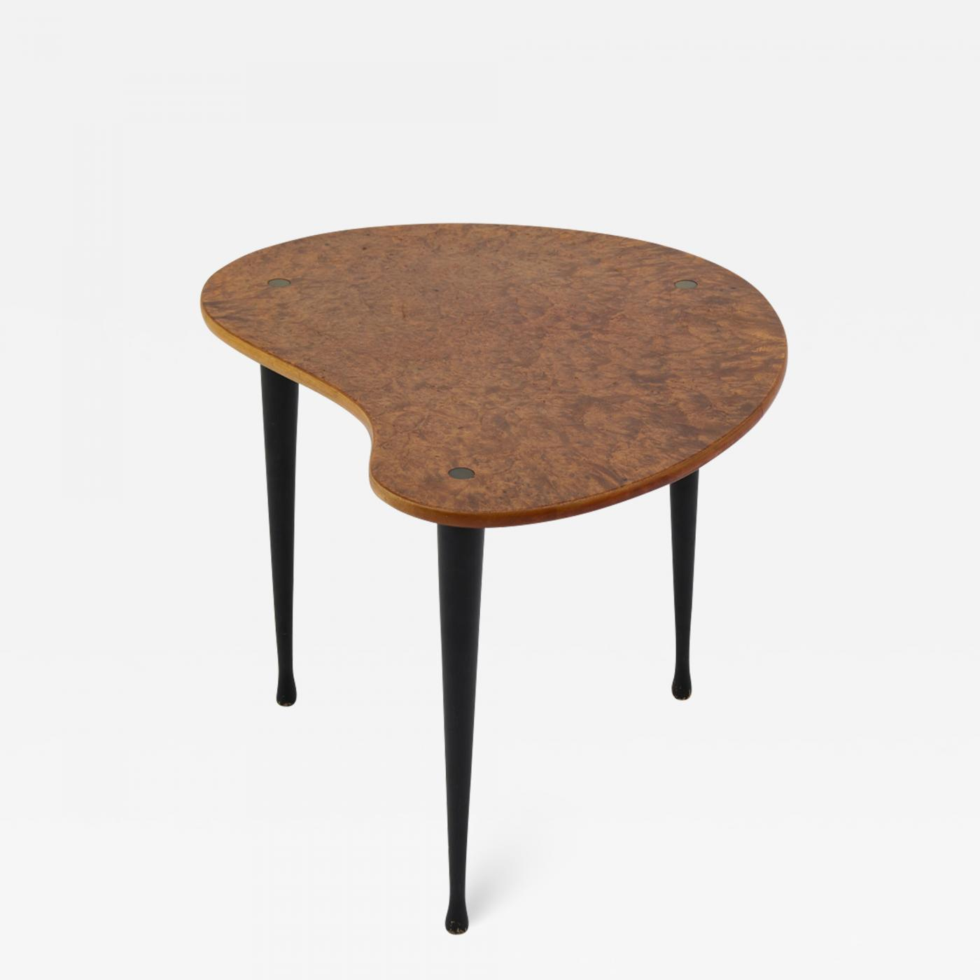 Scandinavian Midcentury Side Table In Elm Root And Brass