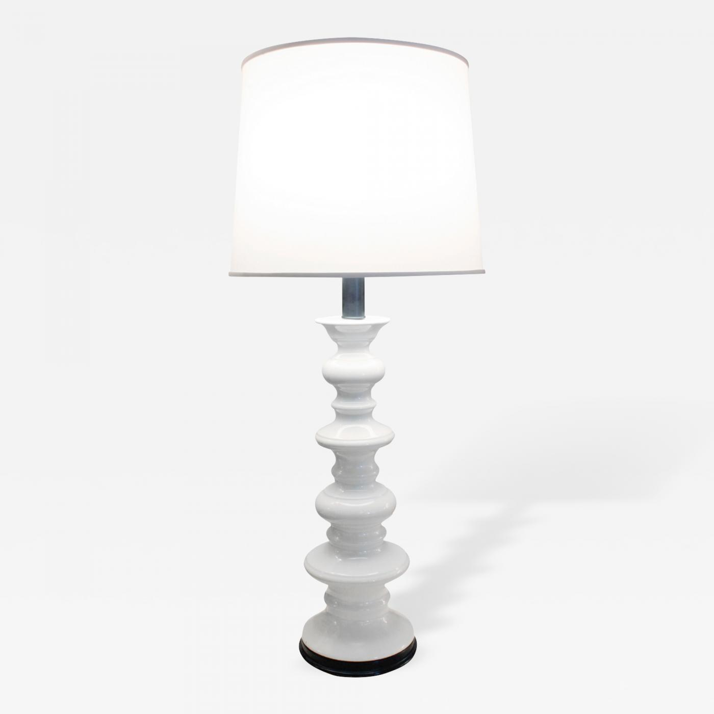 Sculptural White Ceramic Table Lamp 1960s