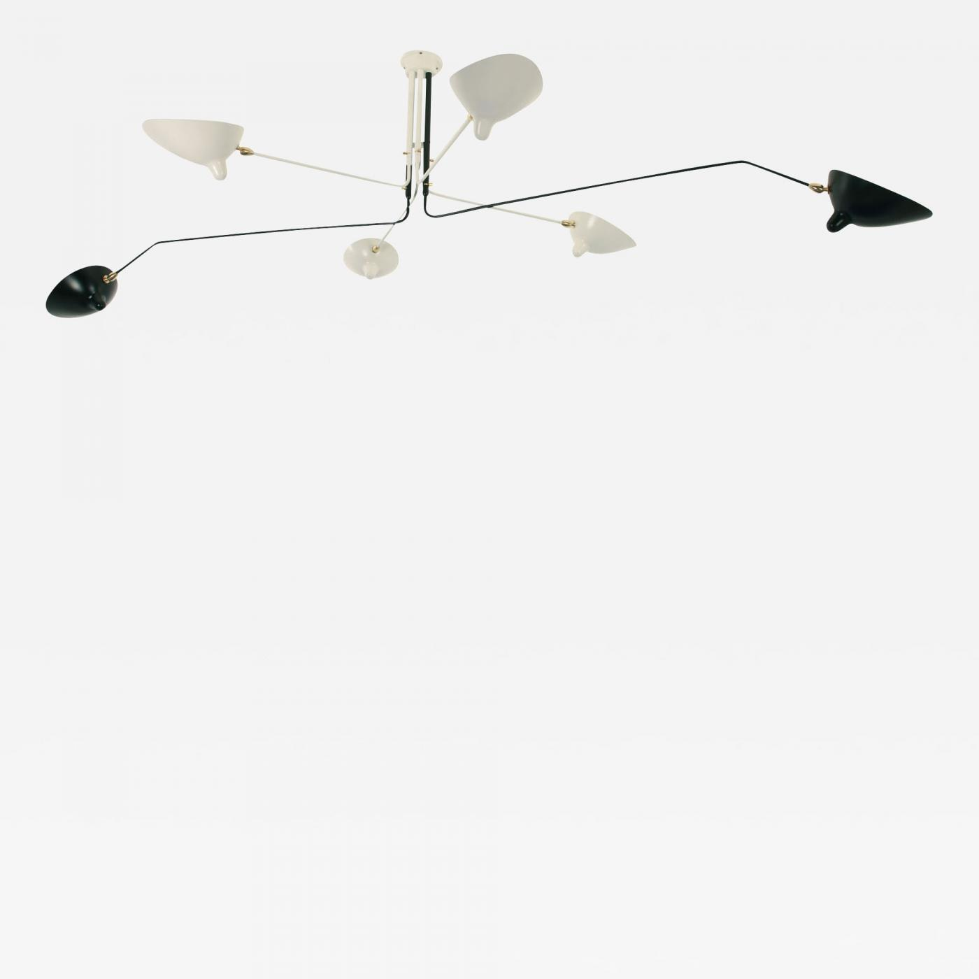 Serge mouille black and white 6 arm ceiling lamp