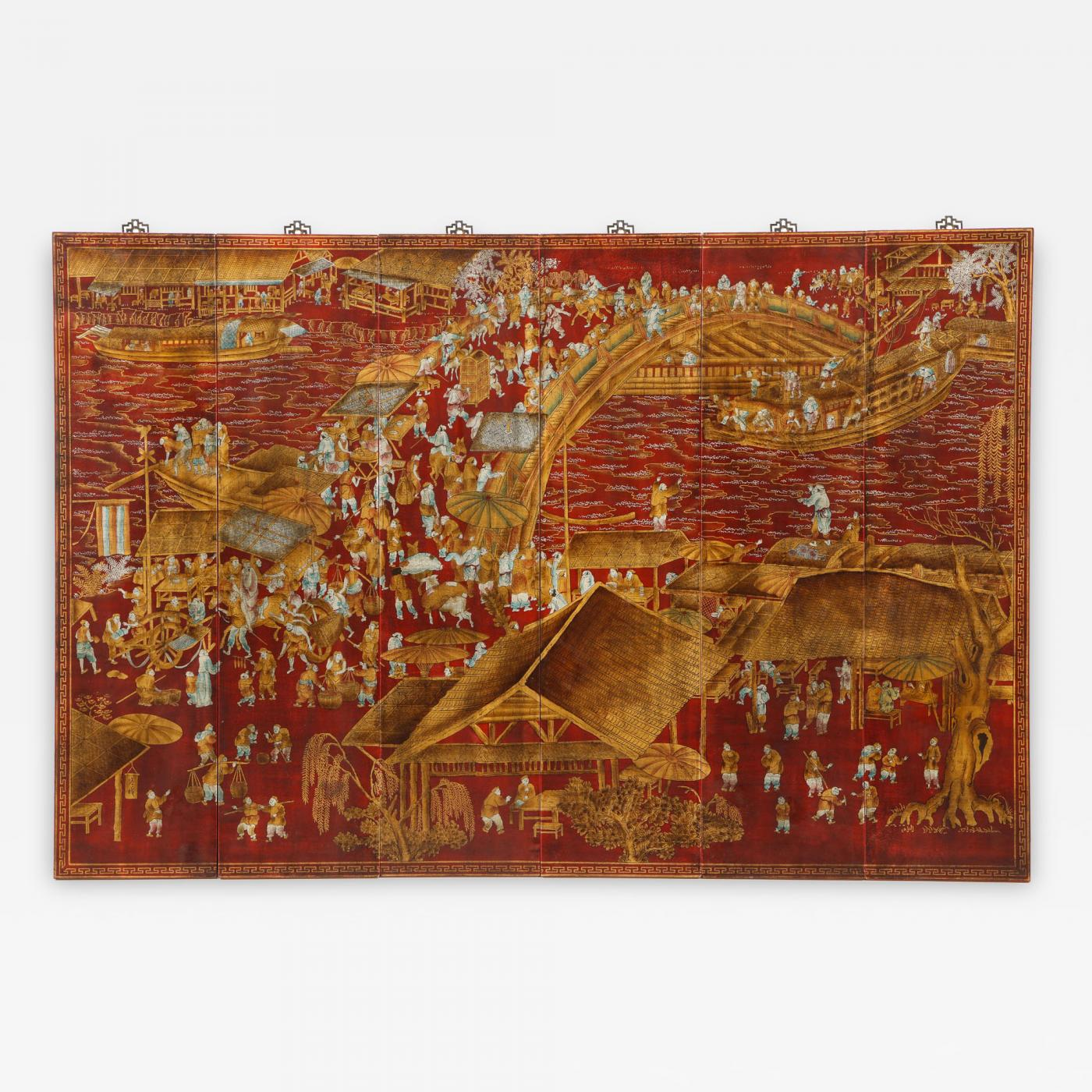 Series Of Six Red Lacquered Chinoiserie Panels