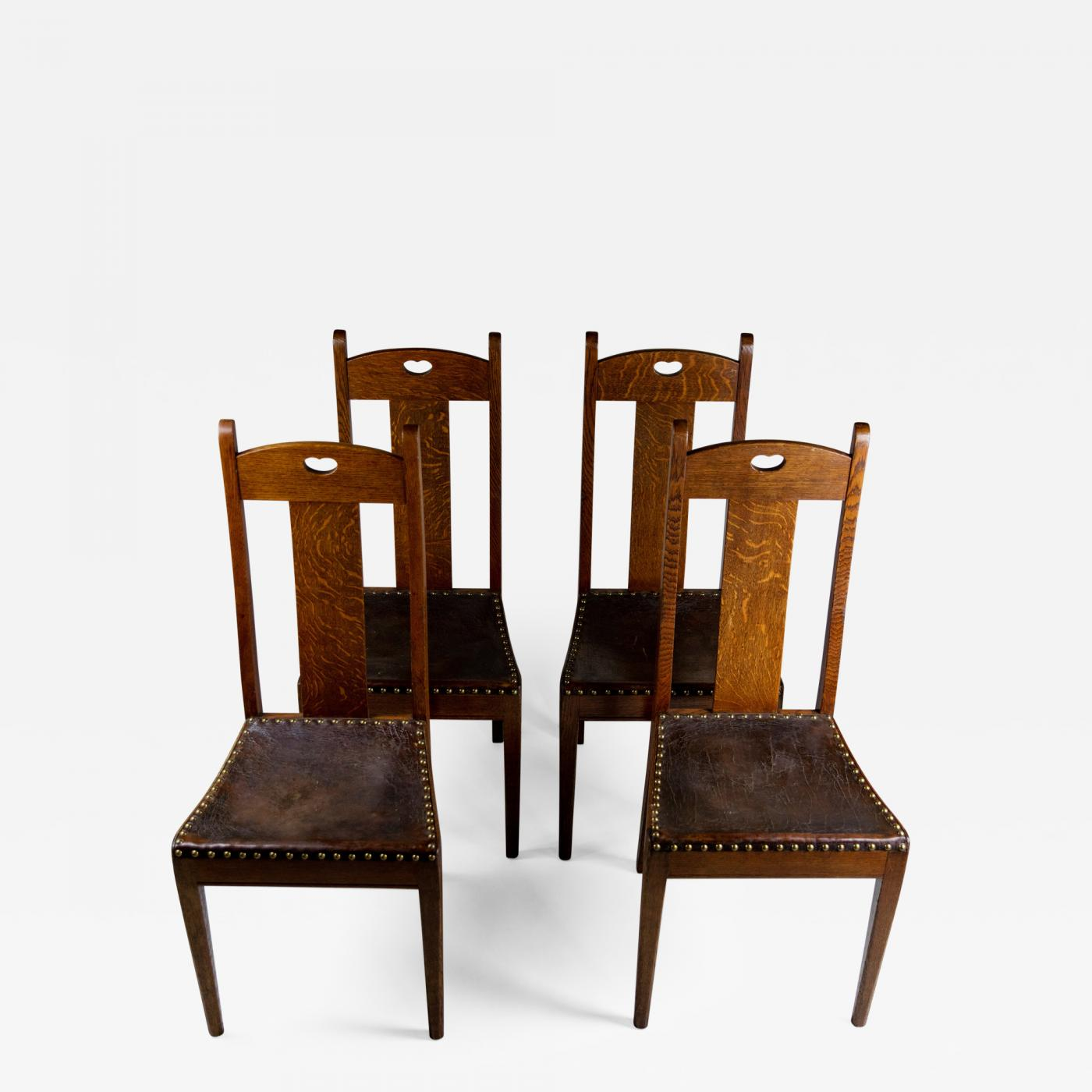 Set Four English Arts Crafts Oak Wood Leather Chairs By Arthur