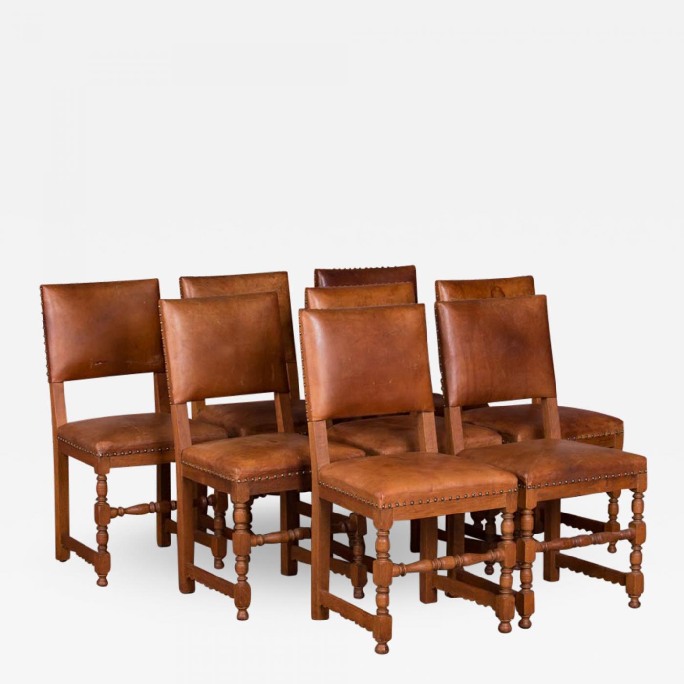 Enjoyable Set Of 8 Antique Danish Oak And Leather Dining Chairs Creativecarmelina Interior Chair Design Creativecarmelinacom