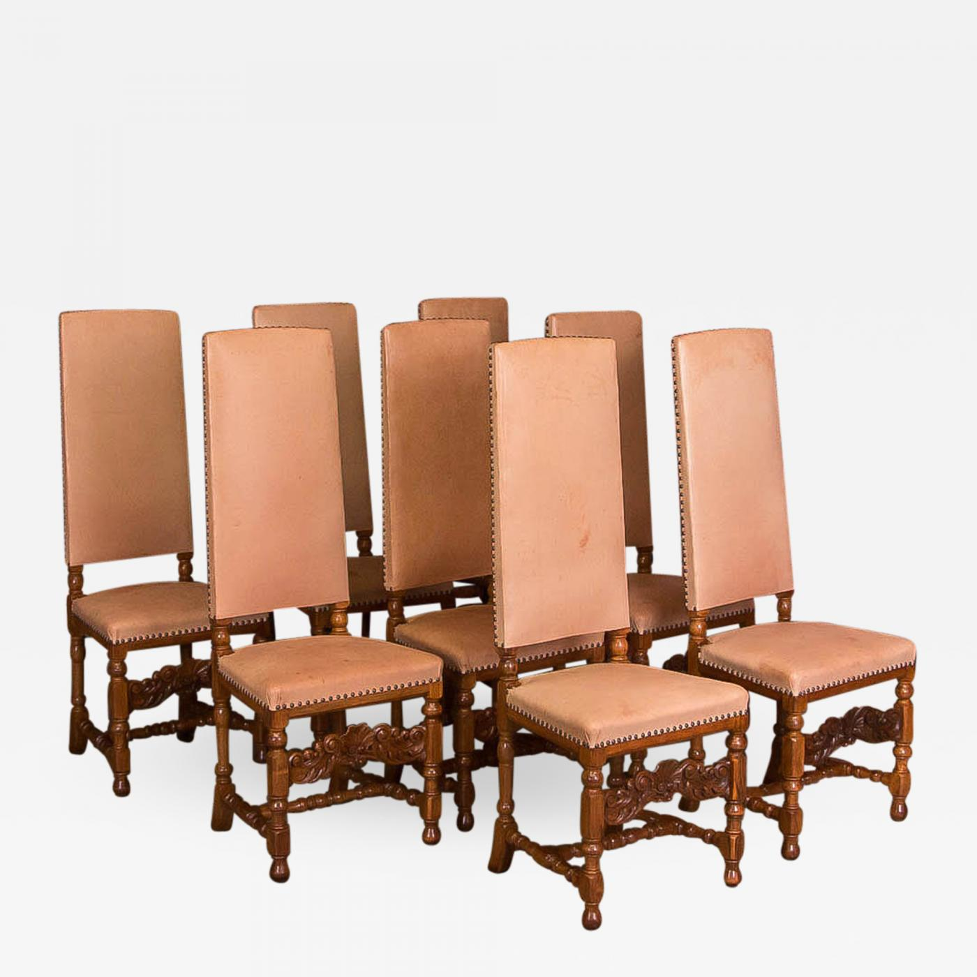 Awesome Set Of 8 Leather Upholstered High Back Oak Dining Chairs Creativecarmelina Interior Chair Design Creativecarmelinacom
