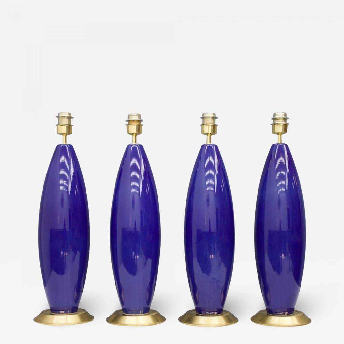 Three Cobalt Blue Glass Table Lamps With Brass Base 1970s