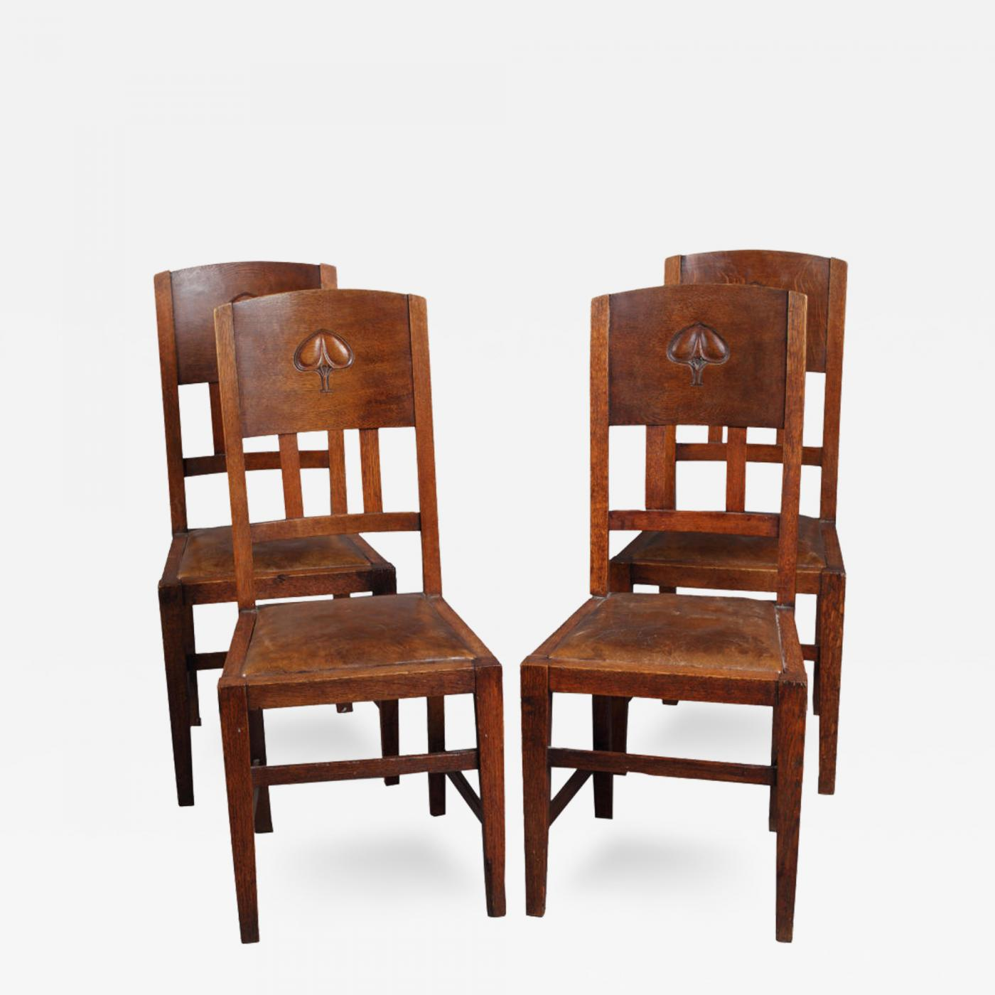 Set Of Four English Arts And Crafts Chairs