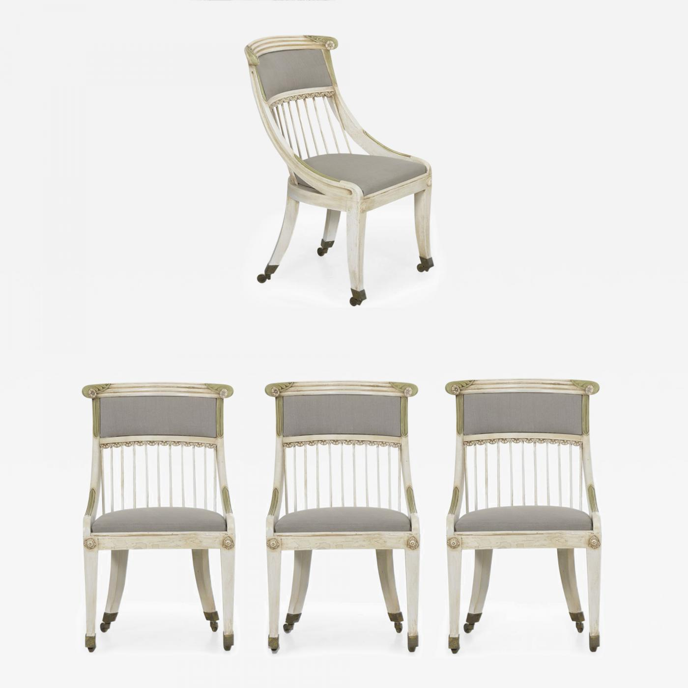 Cool Set Of Four Gustavian Style White Painted Gray Upholstered Dining Chairs Unemploymentrelief Wooden Chair Designs For Living Room Unemploymentrelieforg
