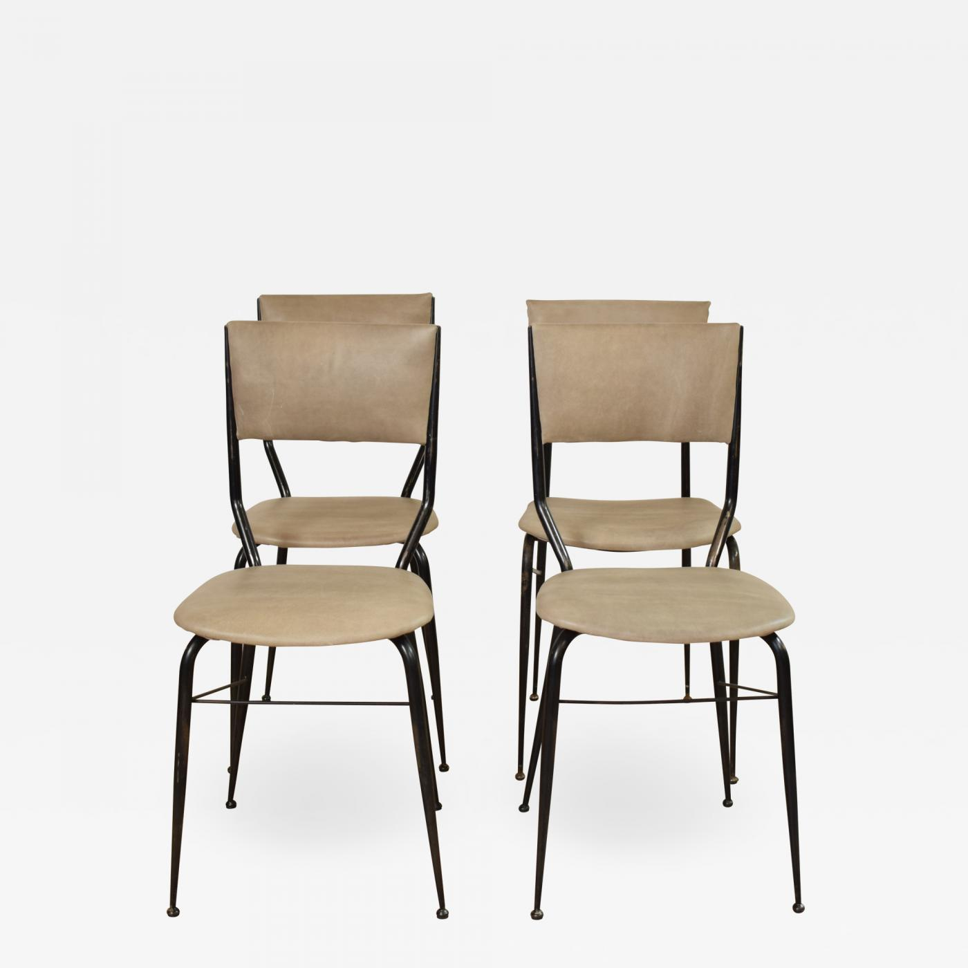 Miraculous Set Of Four Midcentury Italian Metal And Leather Dining Chairs Bralicious Painted Fabric Chair Ideas Braliciousco