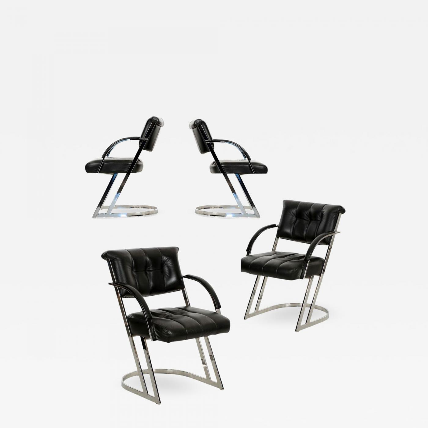 Pleasant Set Of Modern Four Chrome Steel Black Leather Dining Chairs Squirreltailoven Fun Painted Chair Ideas Images Squirreltailovenorg