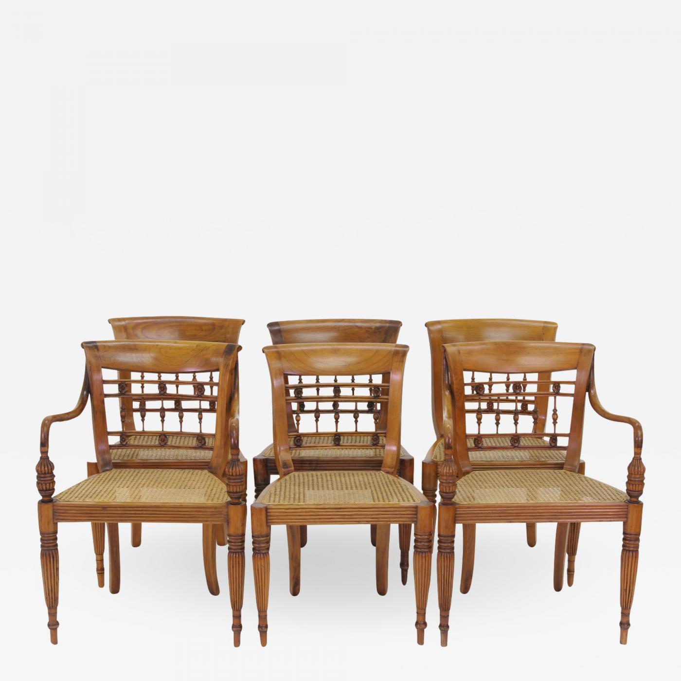 Set Of Six British Colonial Dining Chairs 1830