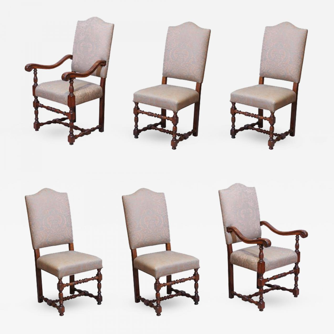 Set of Six French Louis III Style Walnut Dining Chairs Upholstered
