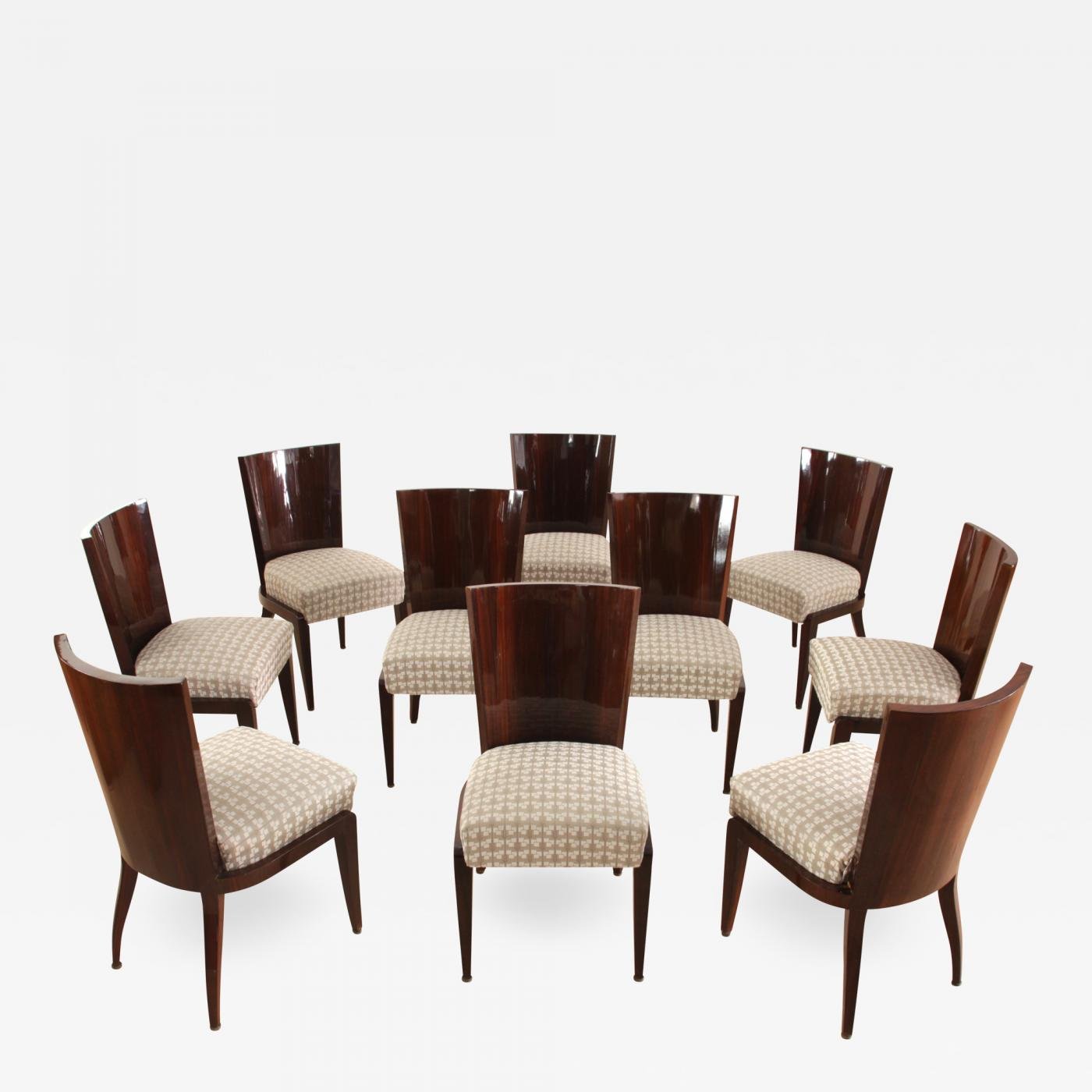 Set of Ten Art Deco Dining Room Chairs, Mahogany Veneer, France, circa 1930