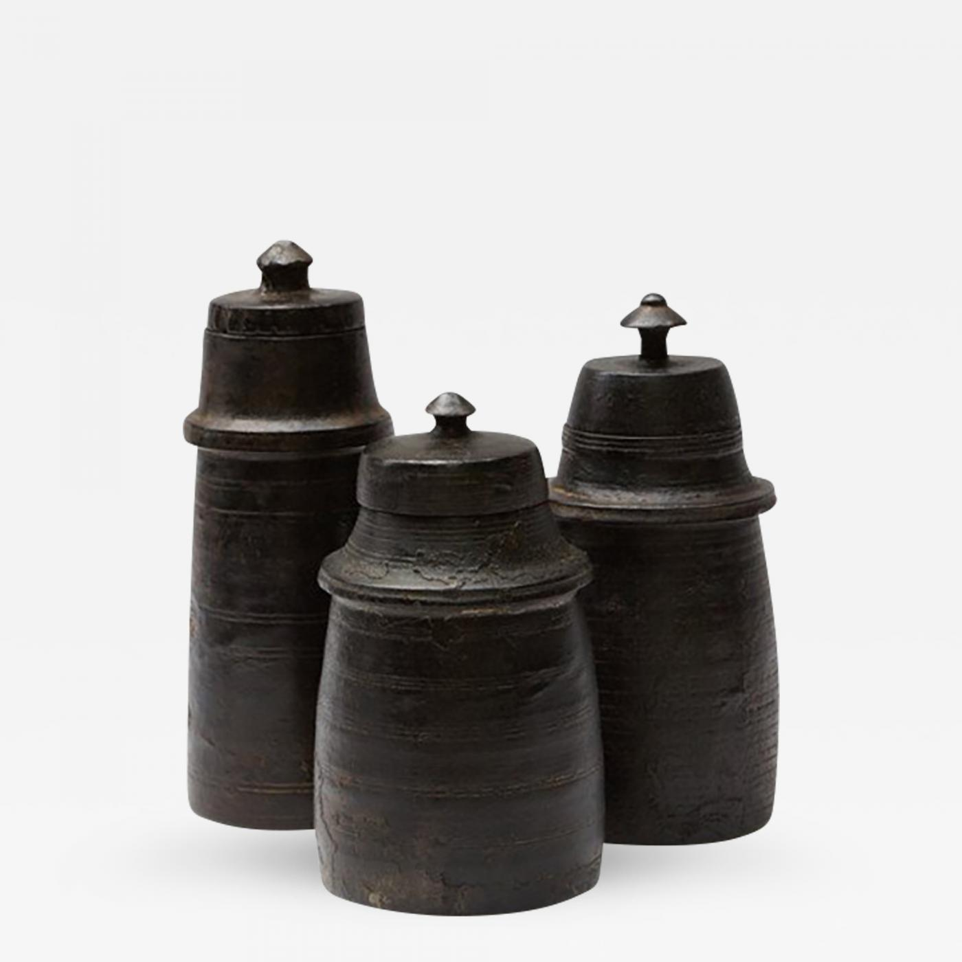 Of three turned wood vases with lidded tops set of three turned wood vases with lidded tops reviewsmspy