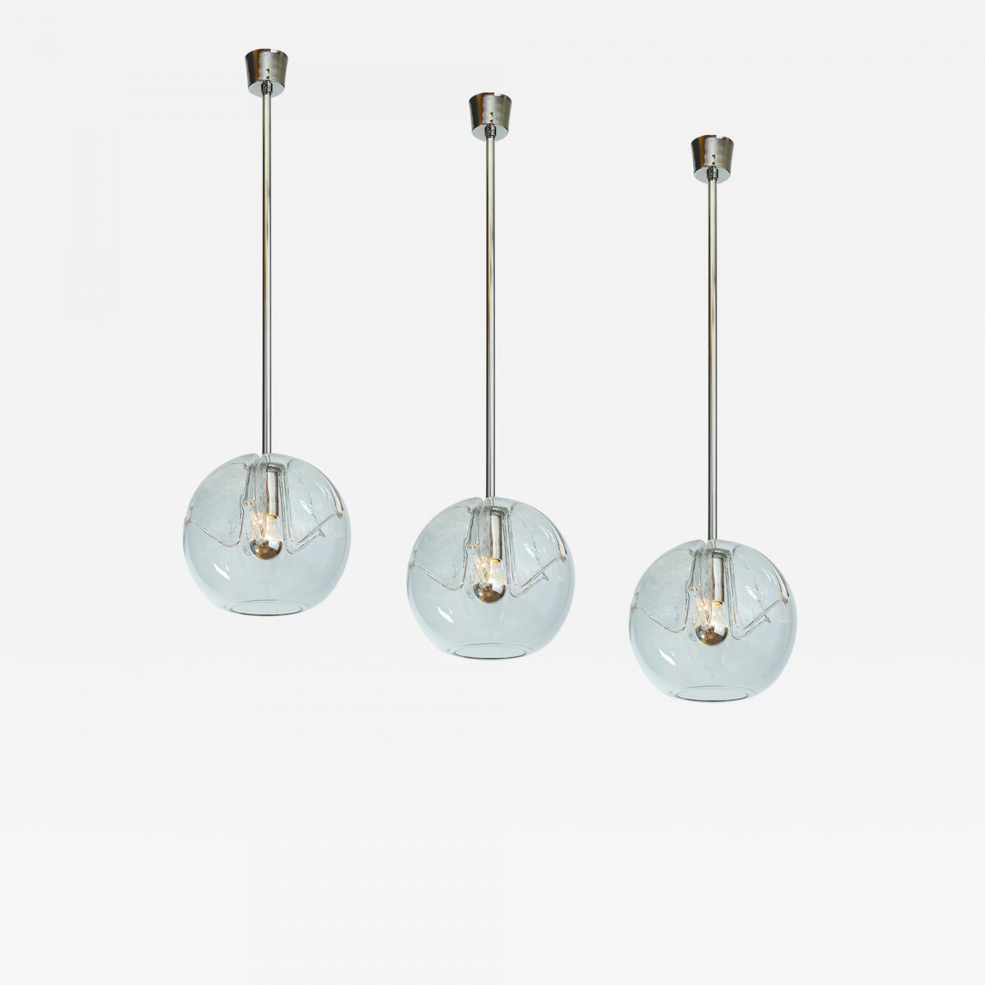 Set of Twelve Blown Glass Clear Pendant Lanterns