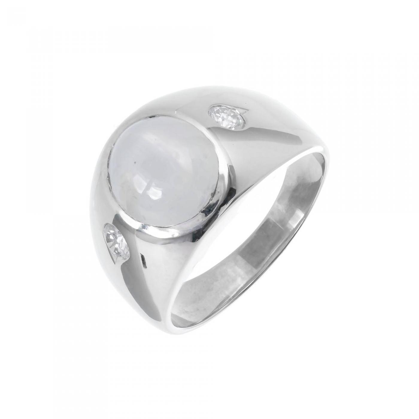 Star Sapphire Diamond Men s White Gold Three Stone Ring