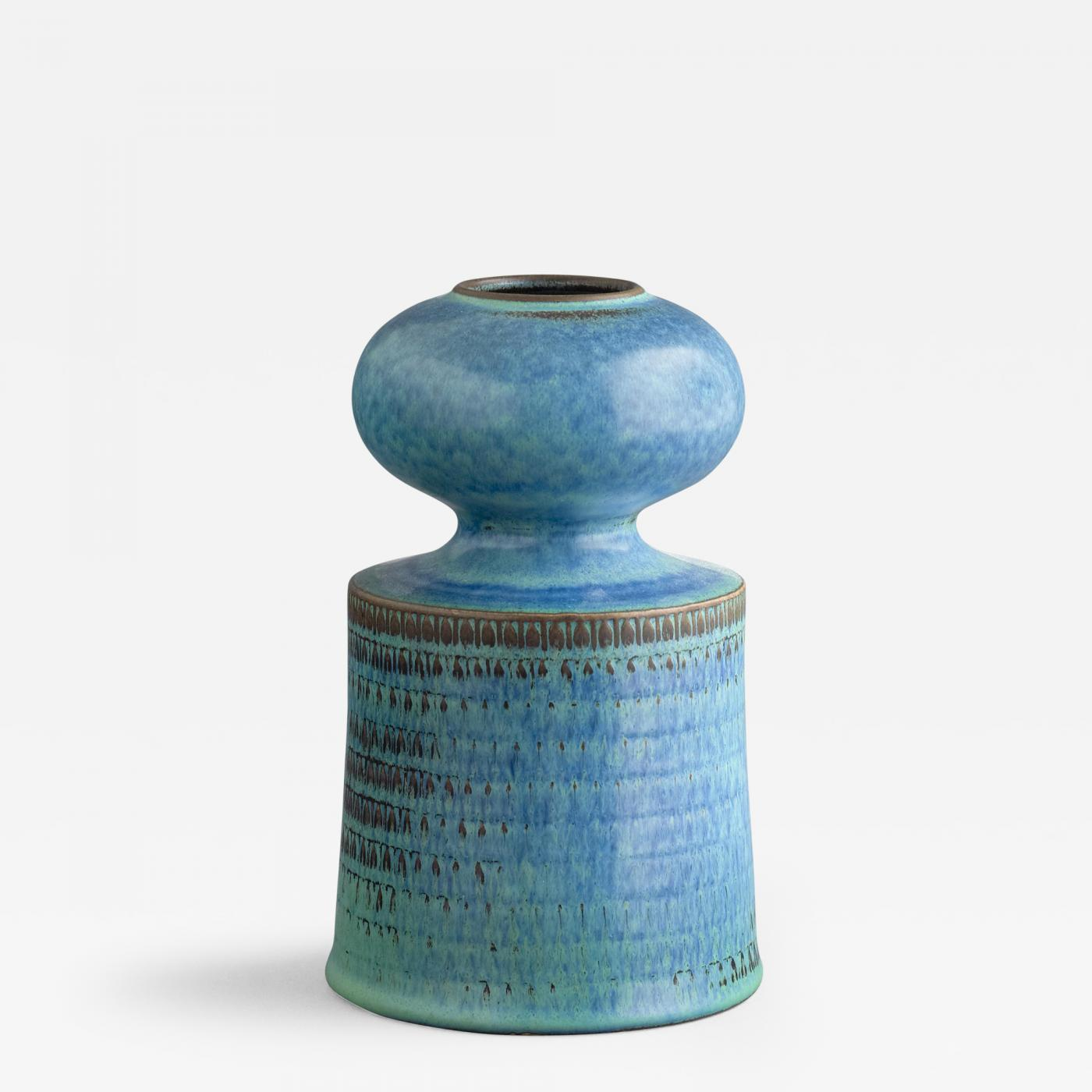 Stig lindberg turquoise colored vase with cylindrical base and listings decorative arts objects vases jars urns reviewsmspy