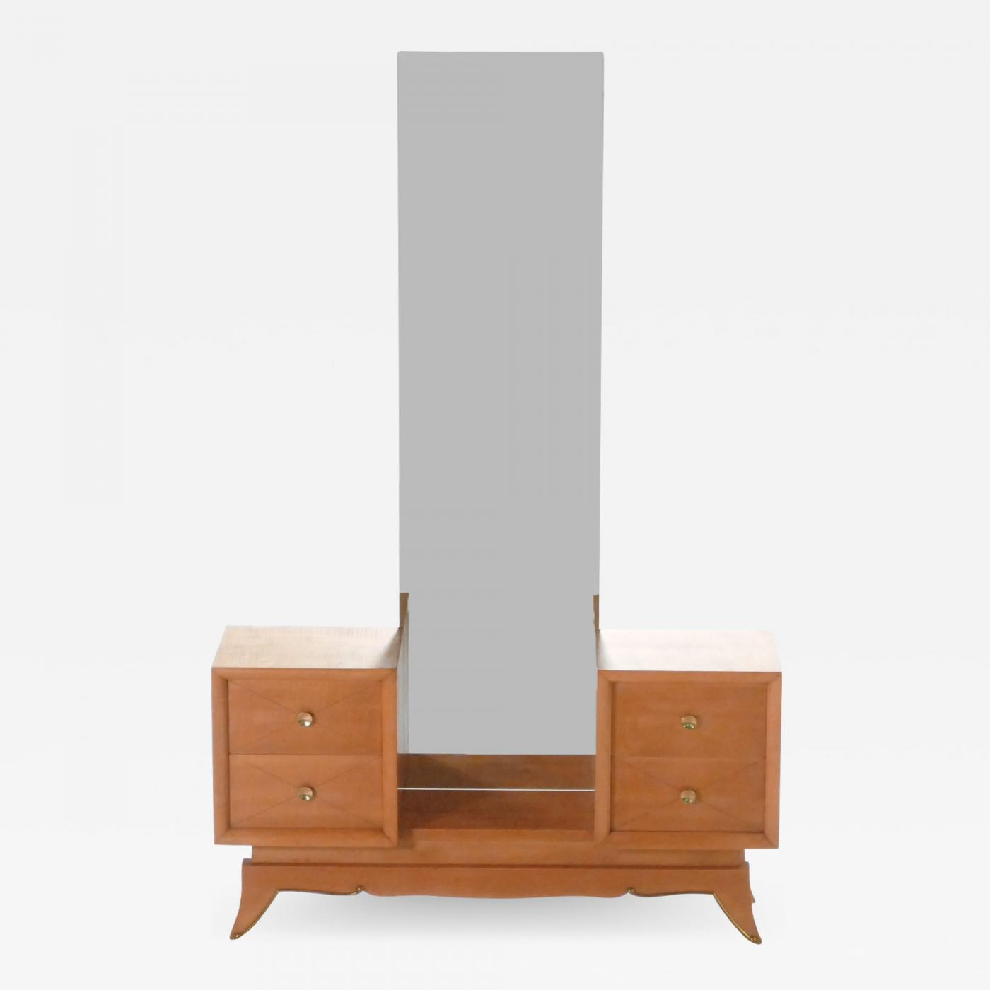French Suzanne Guiguichon Sycamore Vanity Dressing Table 1950s