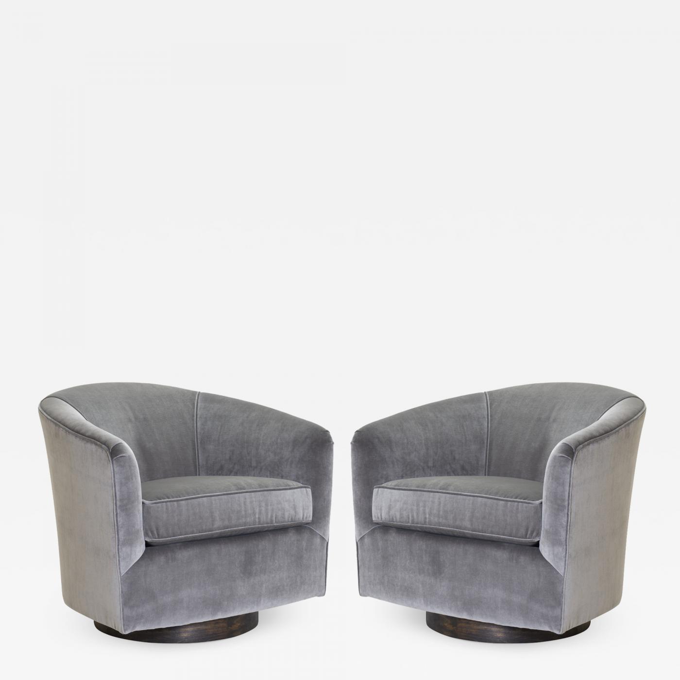 Pleasant Swivel Tub Chairs In Fog Velvet Walnut Bases Pair Camellatalisay Diy Chair Ideas Camellatalisaycom