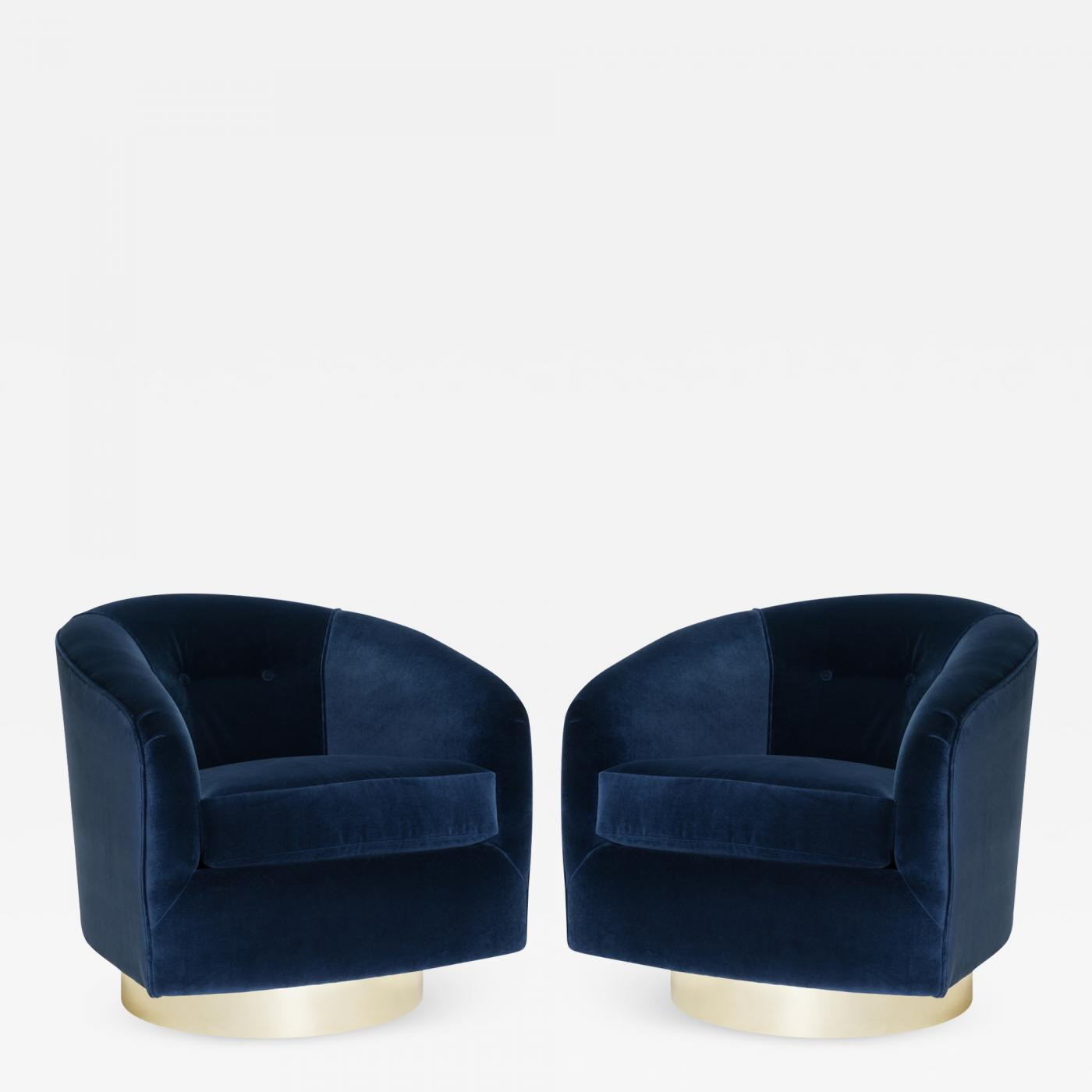 Peachy Swivel Tub Chairs In Navy Velvet With Polished Brass Bases Pair Camellatalisay Diy Chair Ideas Camellatalisaycom