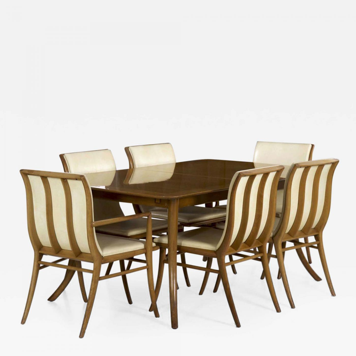 T.H. Robsjohn Gibbings For Widdicomb Dining Table And Six Chairs
