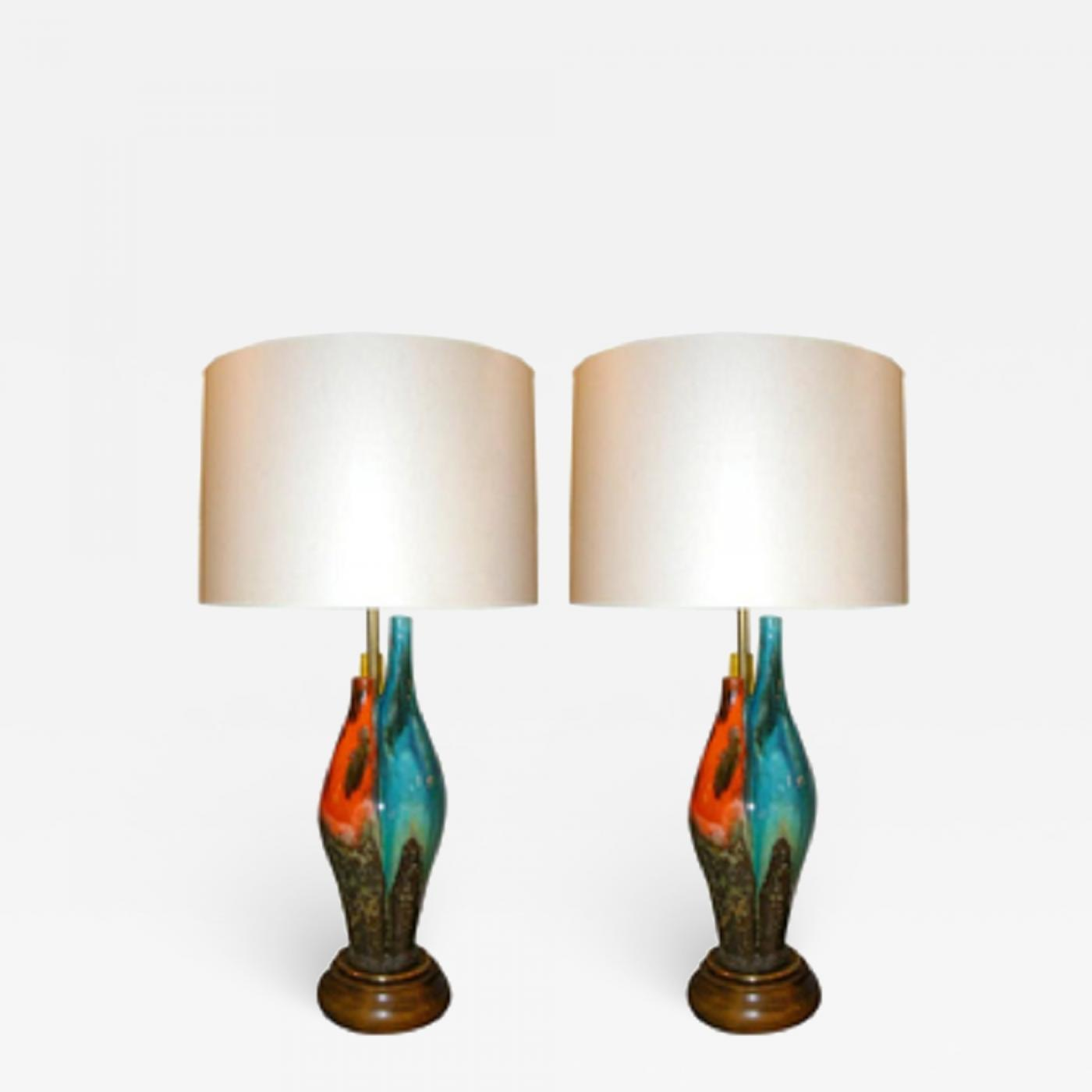 Table Lamps Pair Mid Century Modern Sculptural Glazed Ceramic Italy
