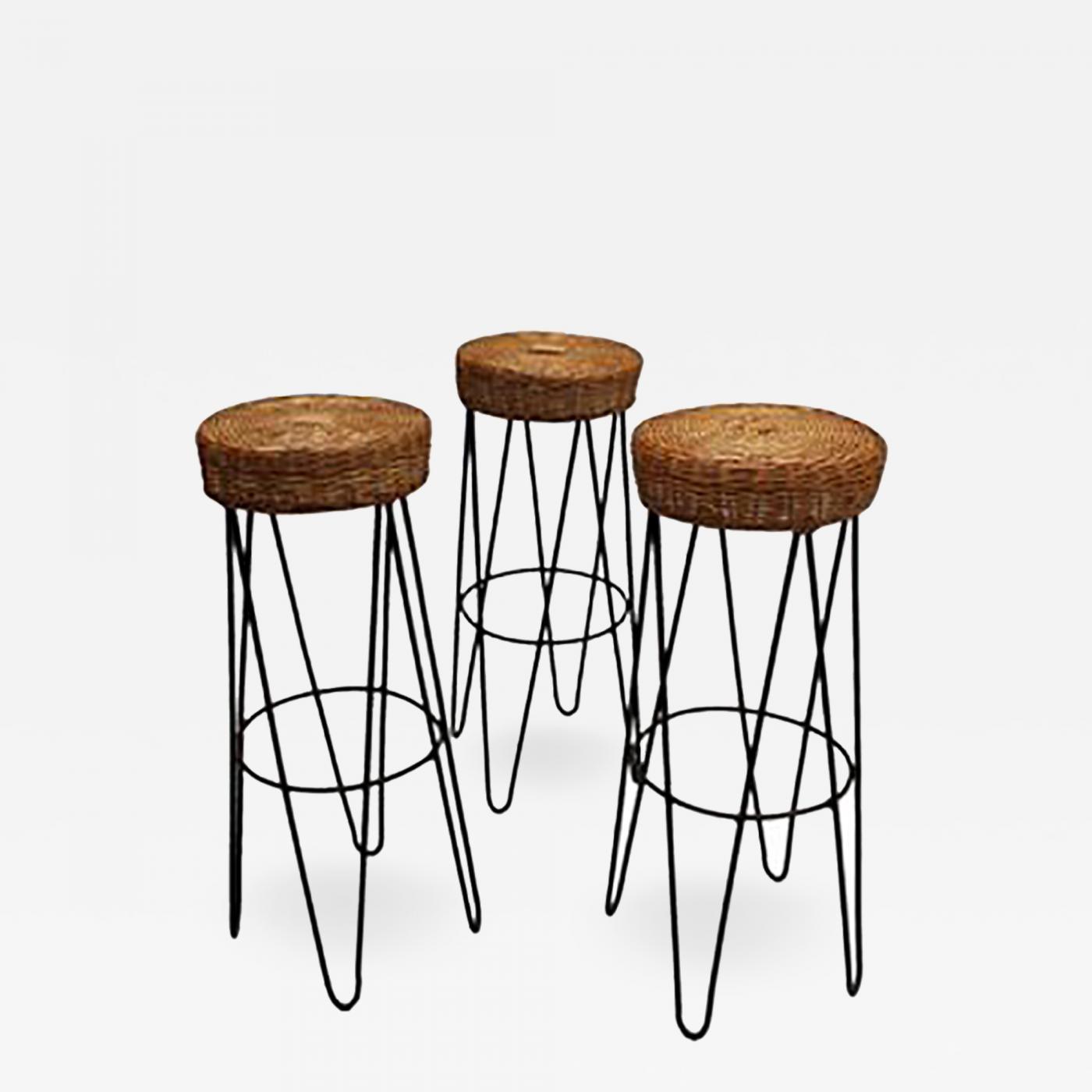 Outstanding Three French Black Metal And Rattan Bar Stools 1950S Inzonedesignstudio Interior Chair Design Inzonedesignstudiocom