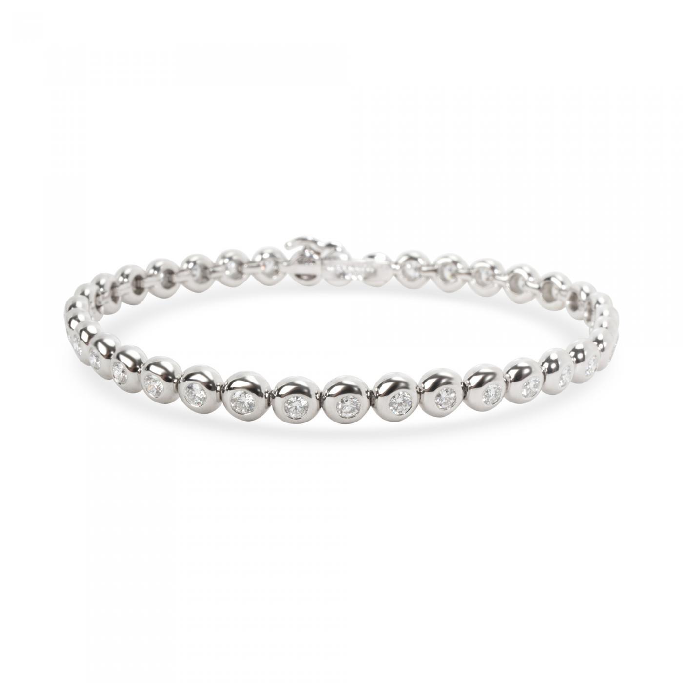 Tiffany Co Tiffany Co Doughnut Bezel Diamond Tennis Bracelet In Platinum 2 50 Ctw