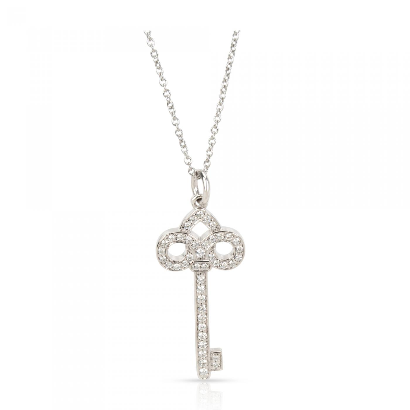 Tiffany And Co Tiffany Co Fleur De Lis Diamond Key Pendant Necklace In Platinum 0 12 Ctw