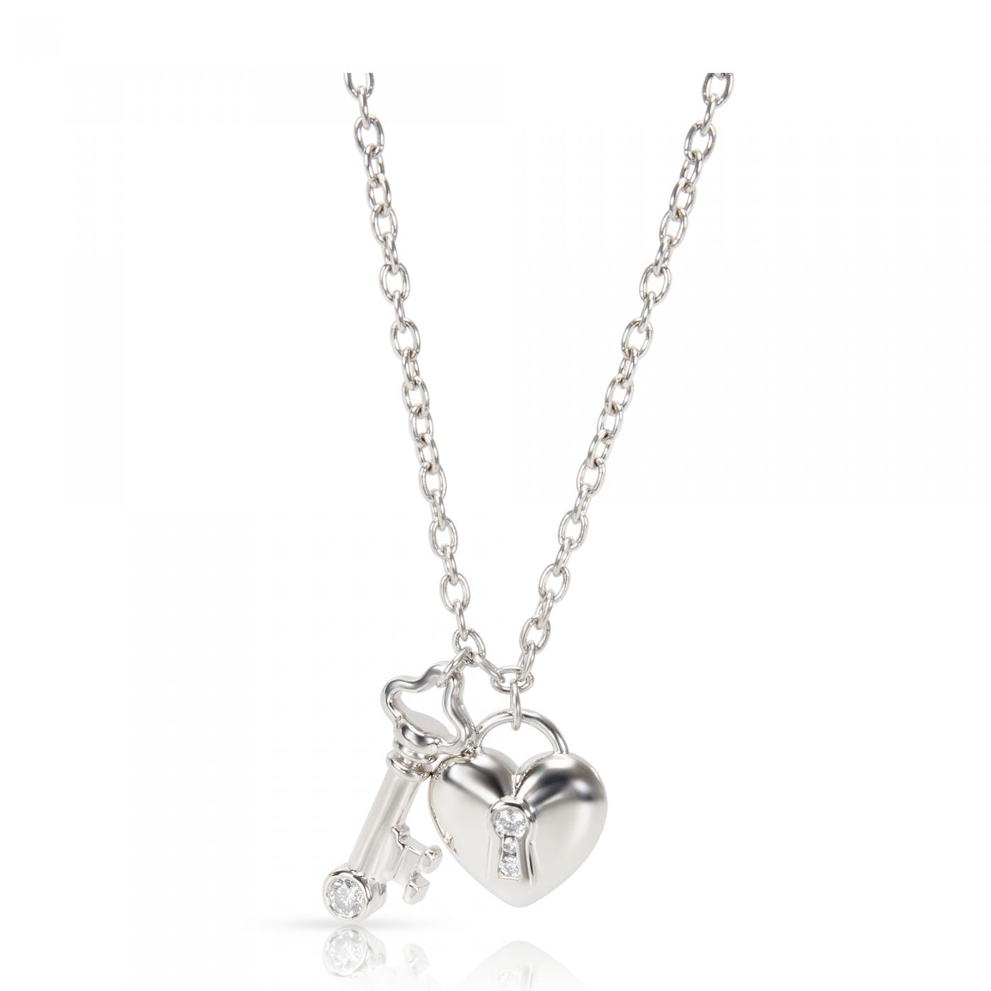 Tiffany And Co Tiffany Co Heart Lock Key Charm Diamond Necklace In Platinum