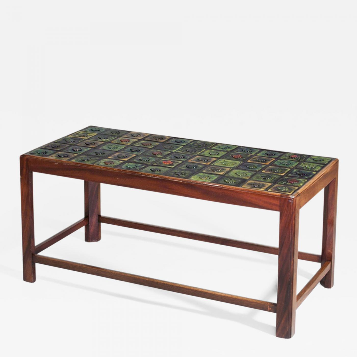 Tiffany Studios Coffee Table With Tiffany Glass Tile Inlay - Coffee table with tile inlay