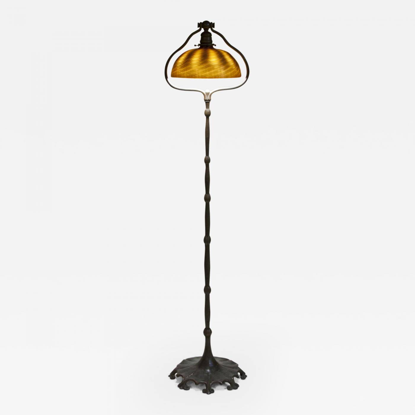 Tiffany Studios - Favrile Glass and Bronze Harp Floor Lamp