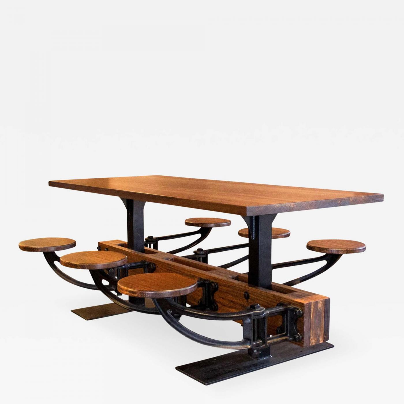 Bench Dining Vintage Industrial Bespoke Dining Table Bench: Vintage Industrial Iron Cafeteria Swing Out