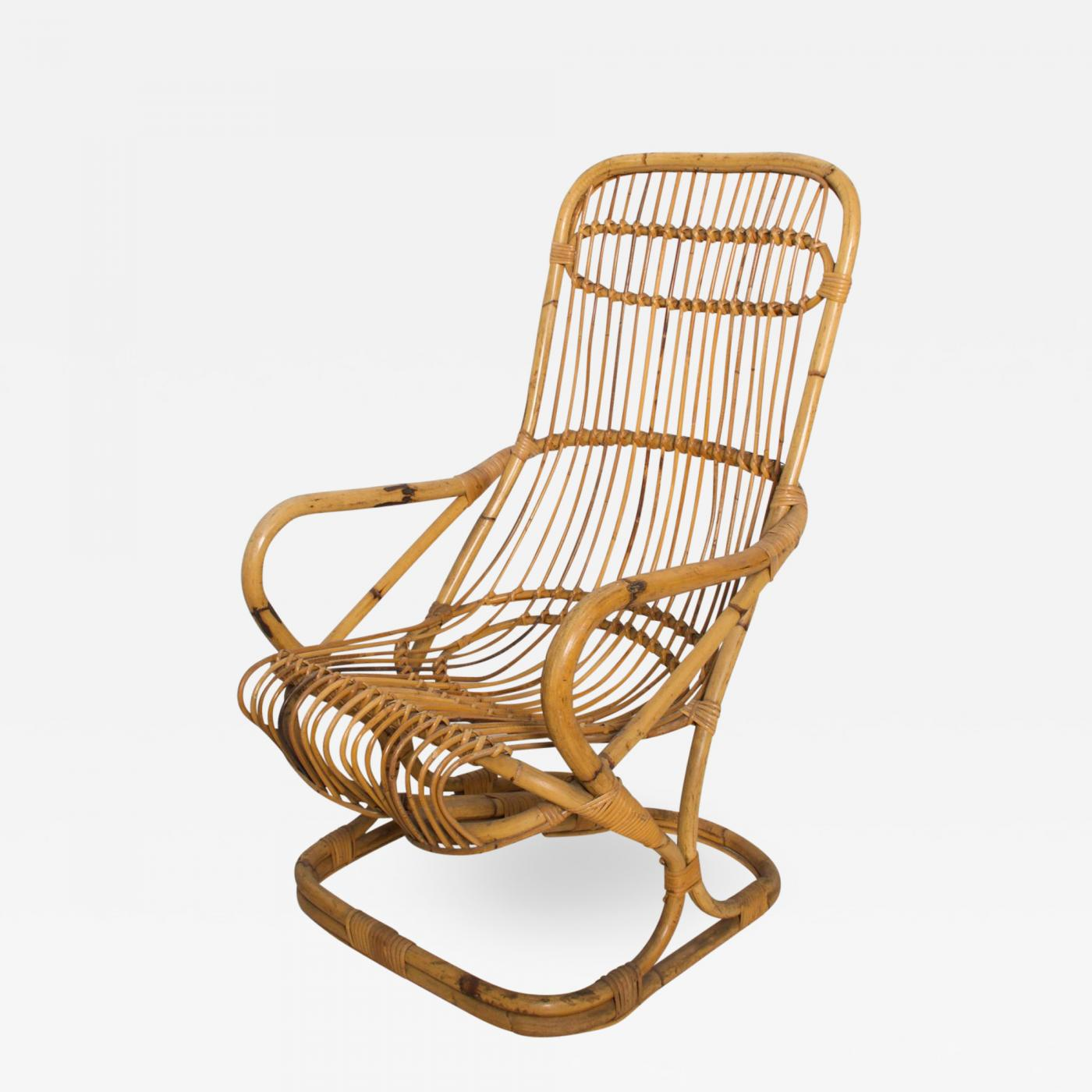 Picture of: Tito Agnoli Mid Century Modern By Tito Agnoli Tall Wicker Lounge Chair Italy