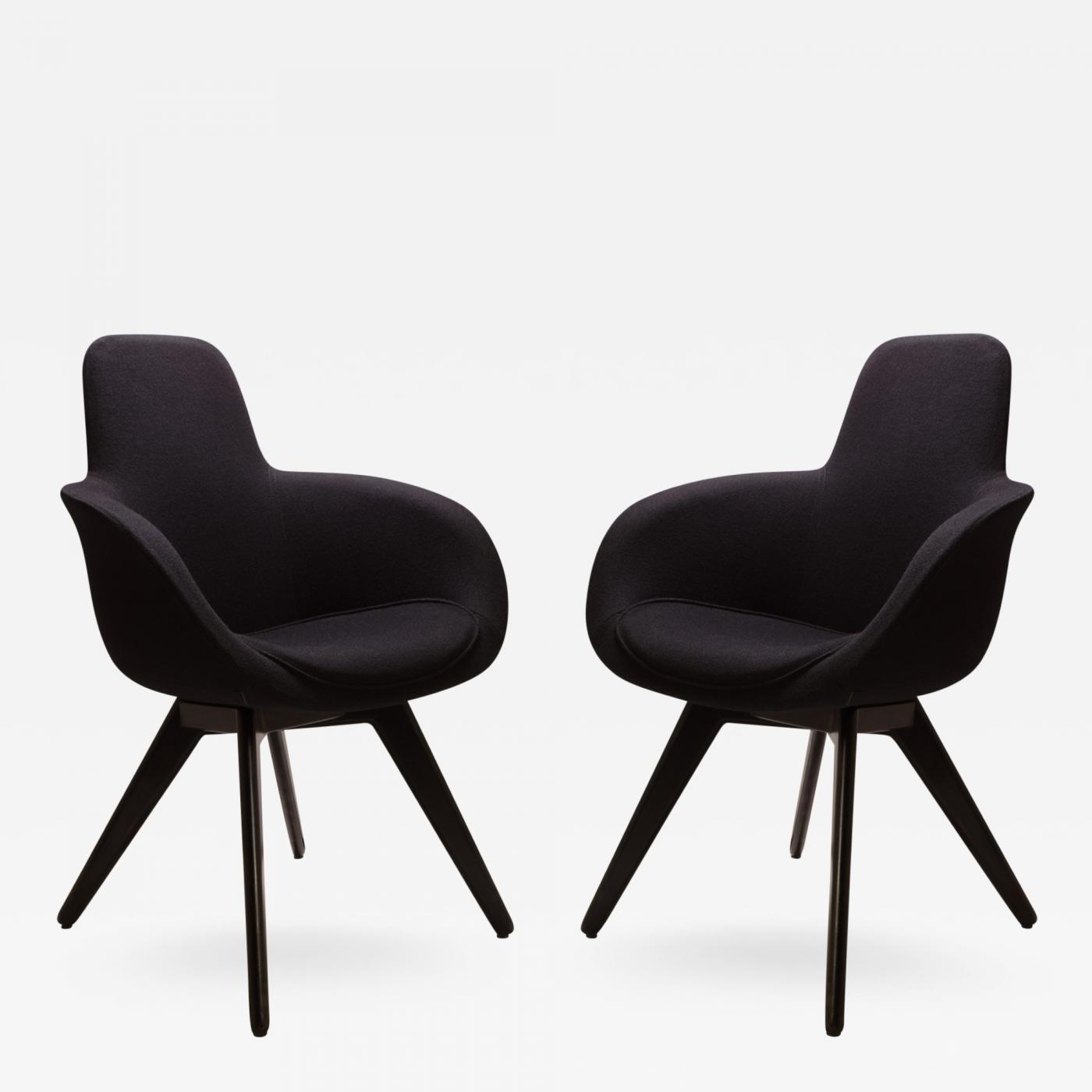 Scoop high chairs in black wool by tom dixon pair
