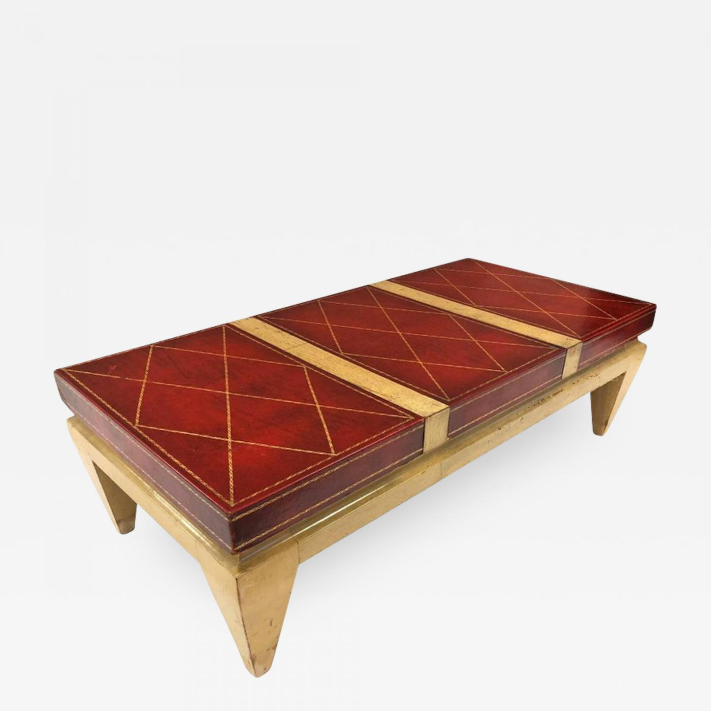 - Tommi Parzinger - Leather Top Coffee Table Style Of Tommi Parzinger