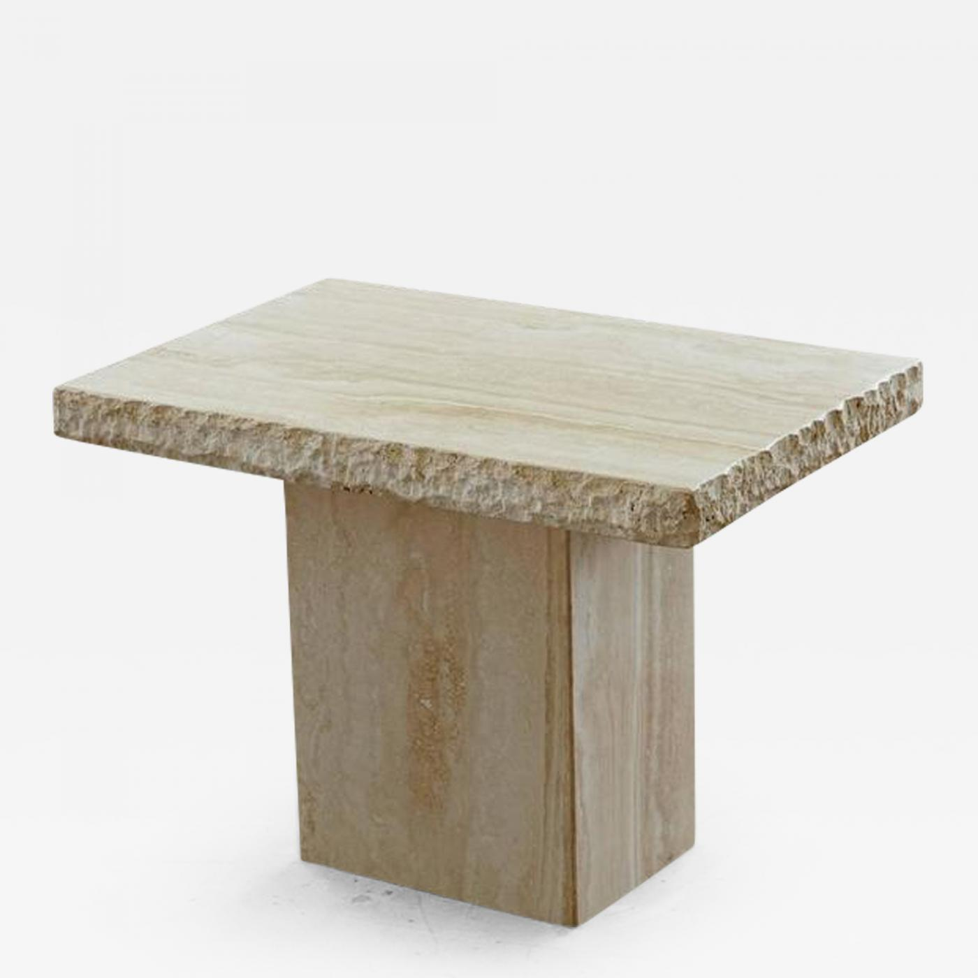 Travertine Side Table With Sculpted Rough Edges And Polished Top