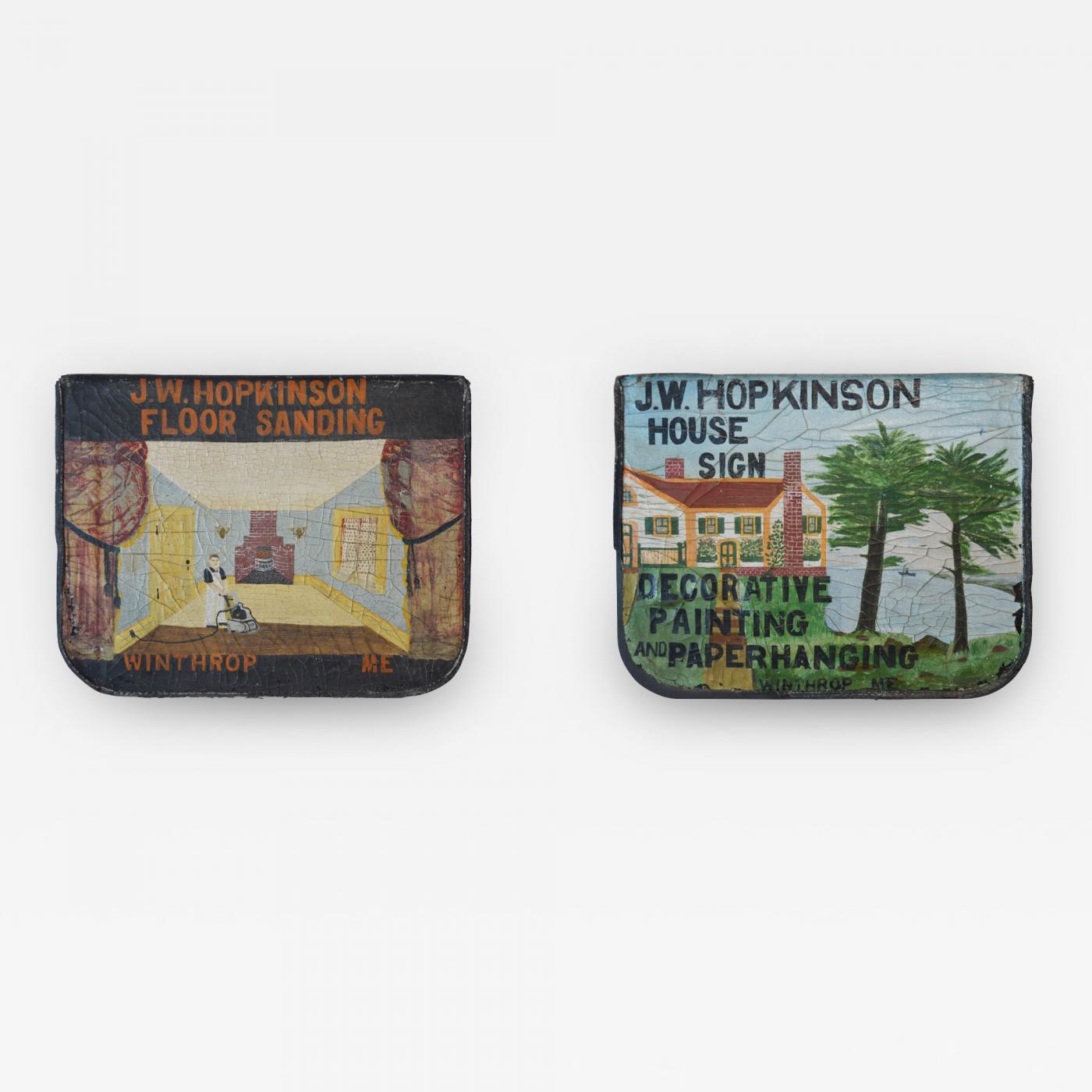 Two Folk Art Trade Signs For Jw Hopkinson