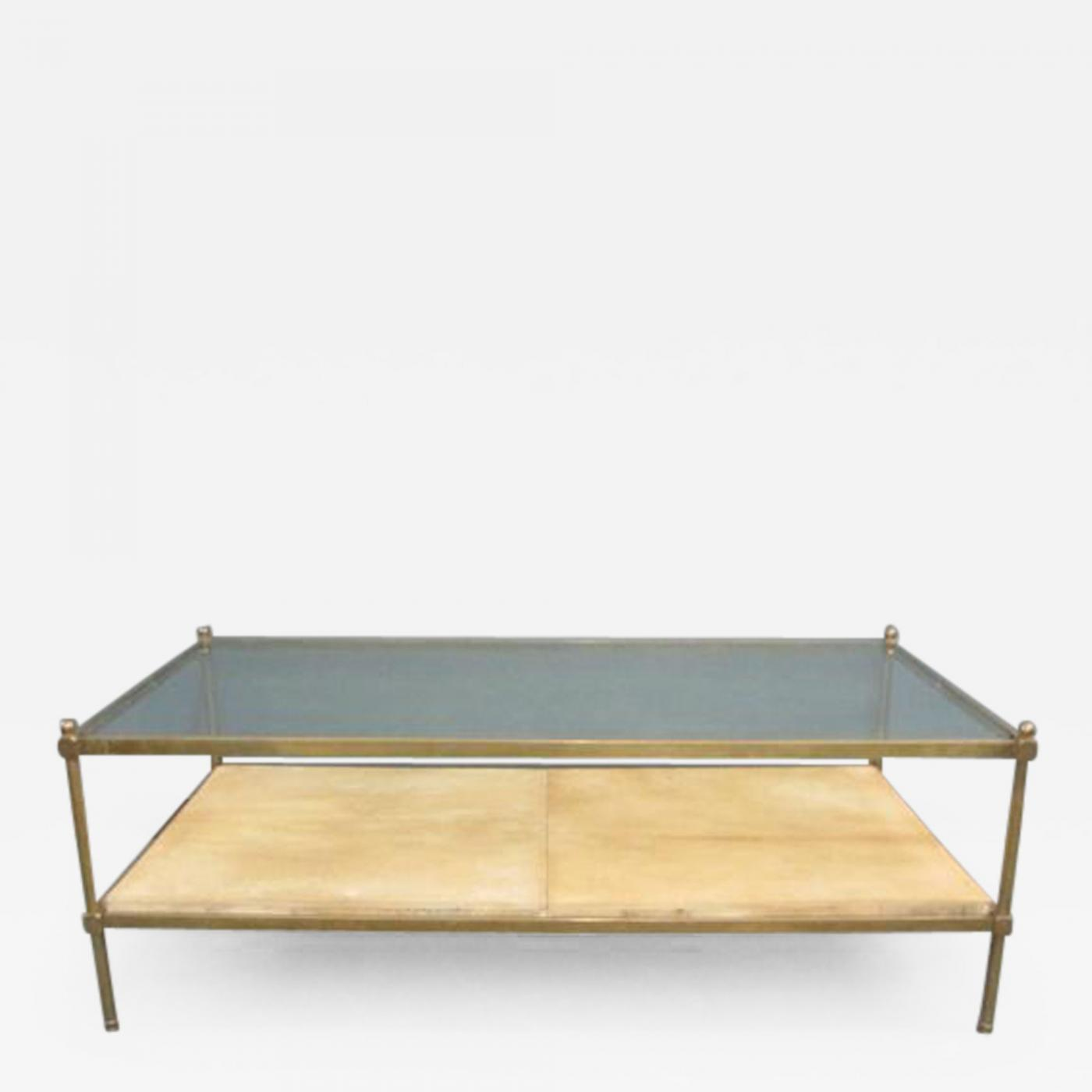 Two tiered bronze coffee table with parchment shelf listings furniture tables coffee tables geotapseo Image collections