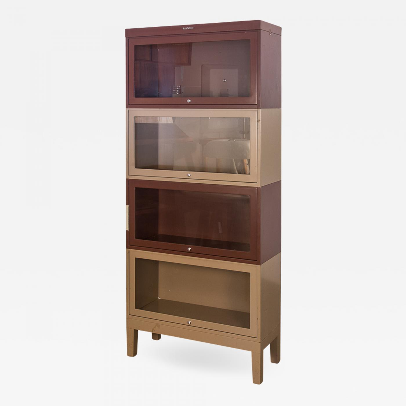 Two Tone Tall Metal Barrister Bookcases