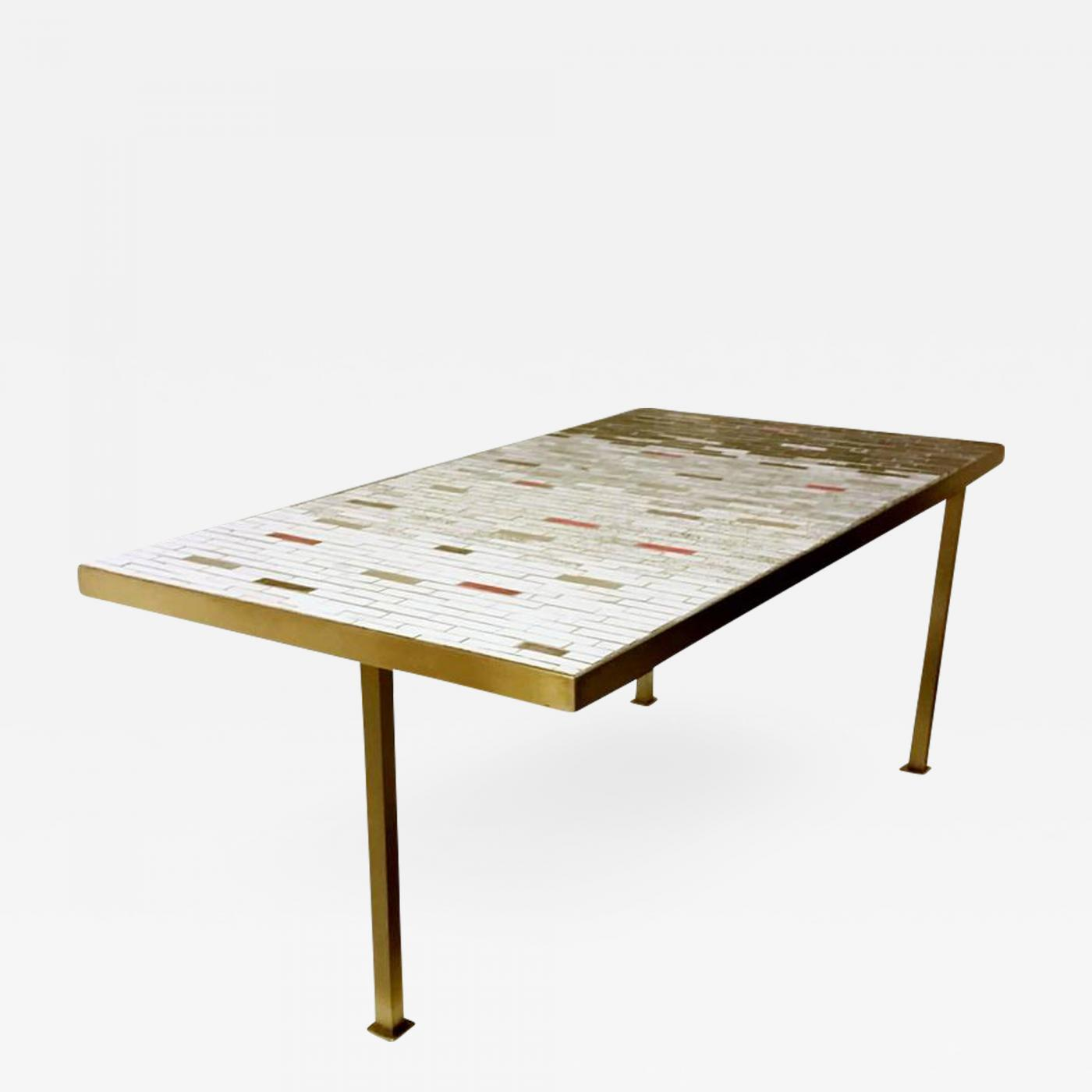 Remarkable Unique Handcrafted Studio Ceramic Tile Mosaic And Brass Coffee Table Circa 1950 Ocoug Best Dining Table And Chair Ideas Images Ocougorg