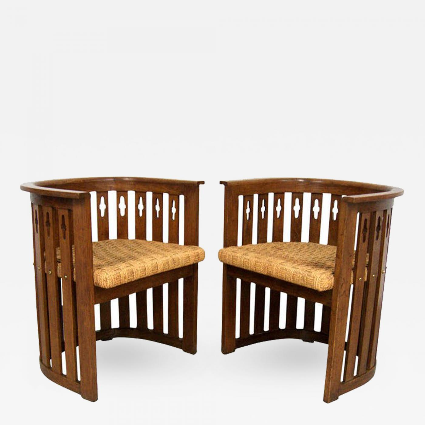 Unique Pair Of Vienna Arts Crafts Movement Oak Barrel Chairs