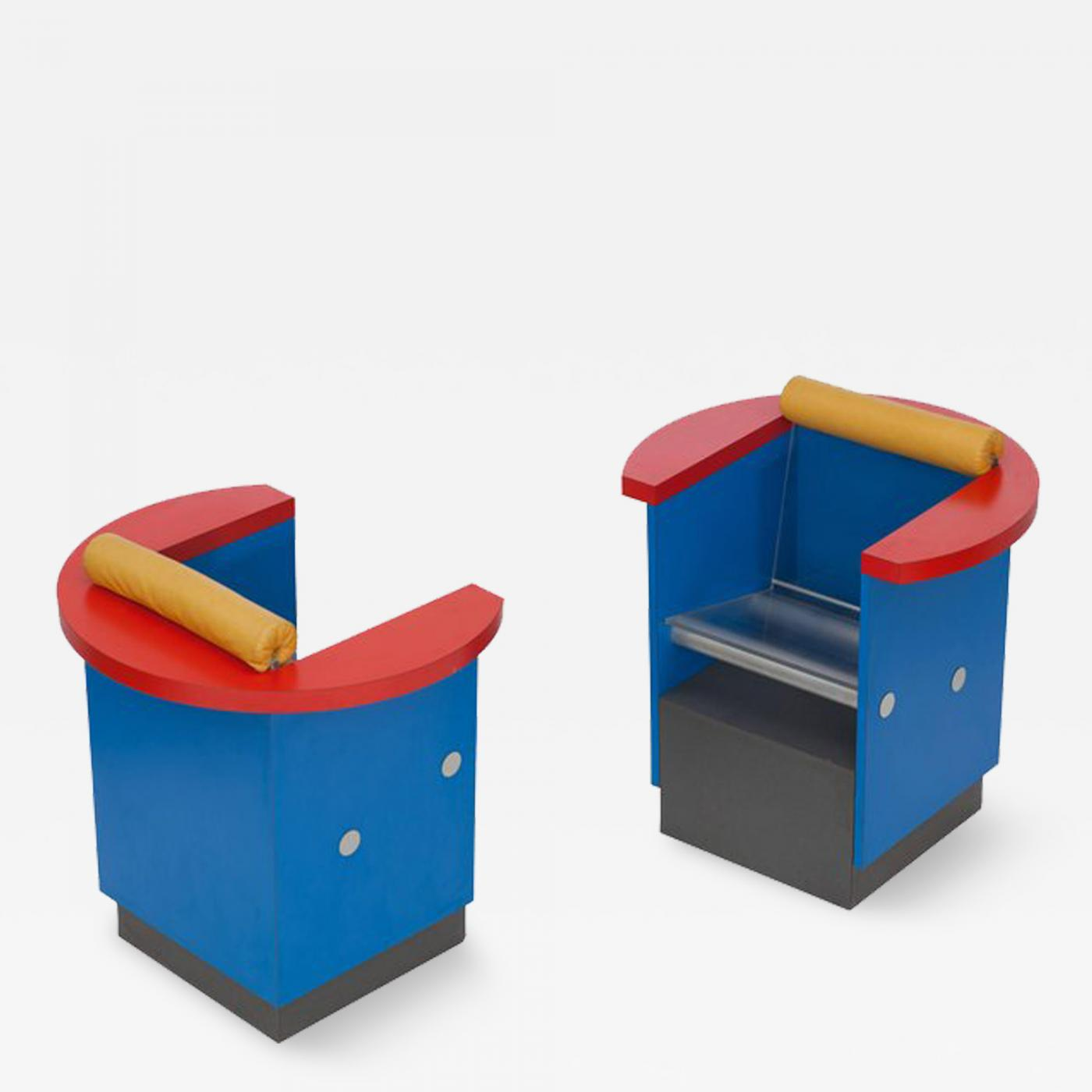 Ettore Sottsass Unusual Pair Of Blue Red And Yellow Memphis Chairs