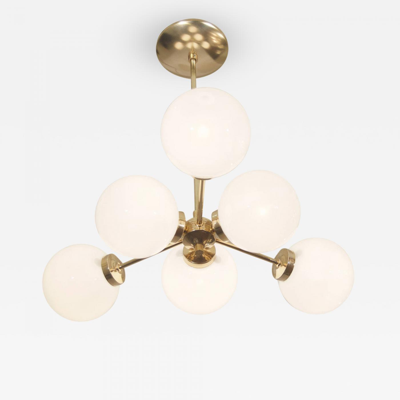 Unusual triangular form french brass and opal glass chandelier listings furniture lighting chandeliers and pendants mozeypictures Images